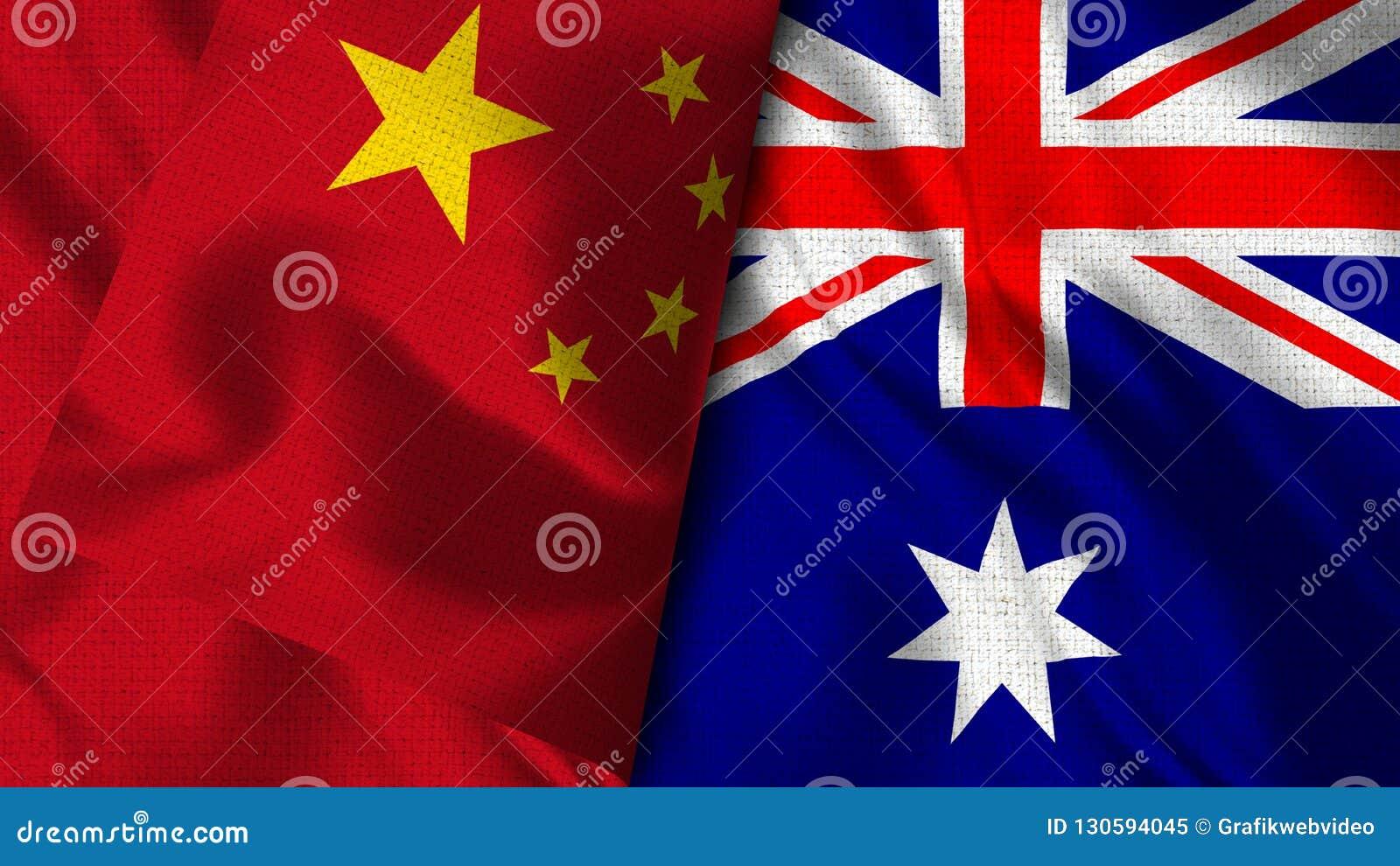Drapeau de l Australie et de la Chine - 3D drapeau de l illustration deux
