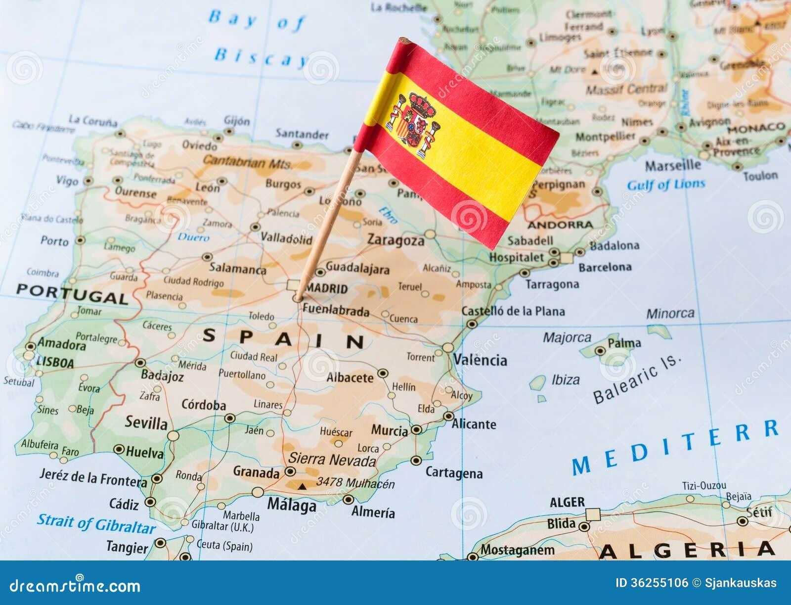 Drapeau De L'Espagne Sur La Carte Photo stock - Image du ...