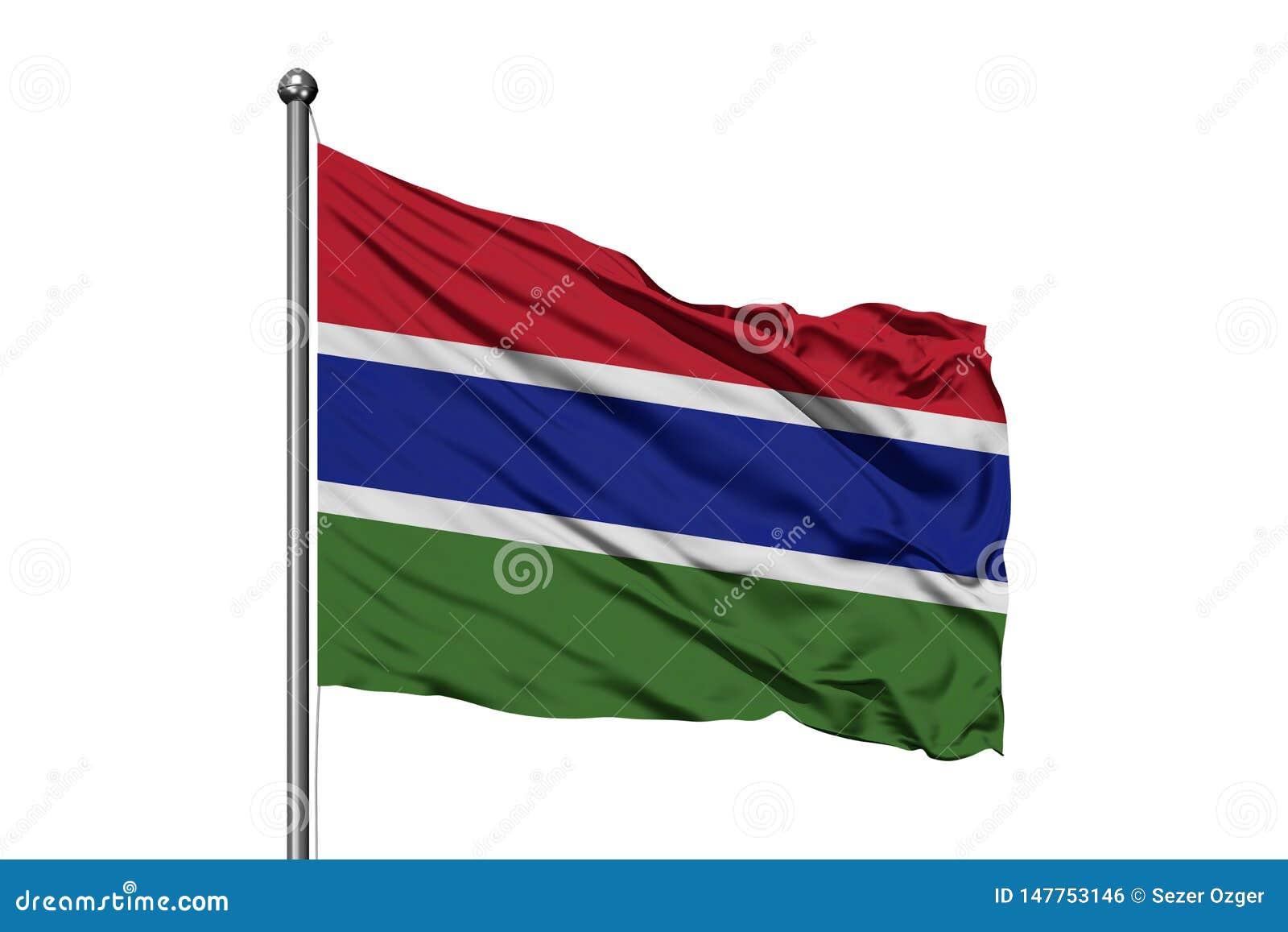 Drapeau de la Gambie ondulant dans le vent, fond blanc d isolement Indicateur gambien