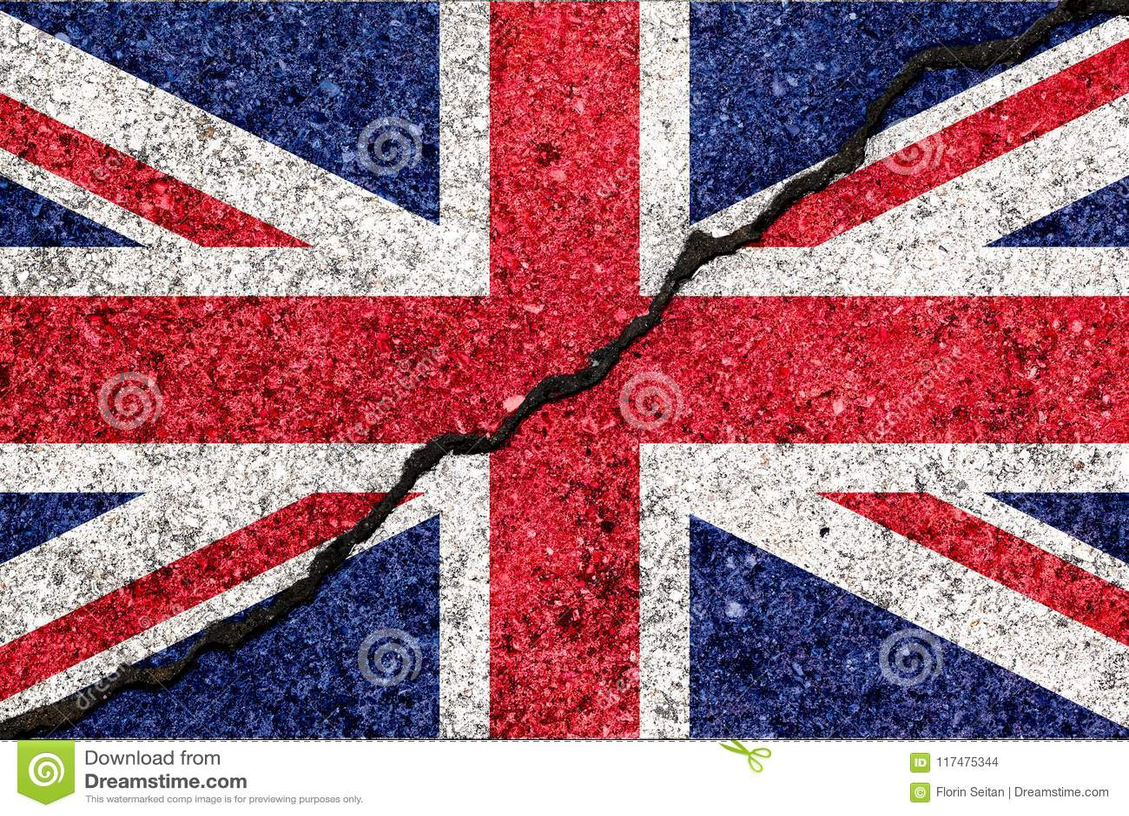Drapeau de la Grande-Bretagne, connu sous le nom d Union Jack, peint sur le mur criqué