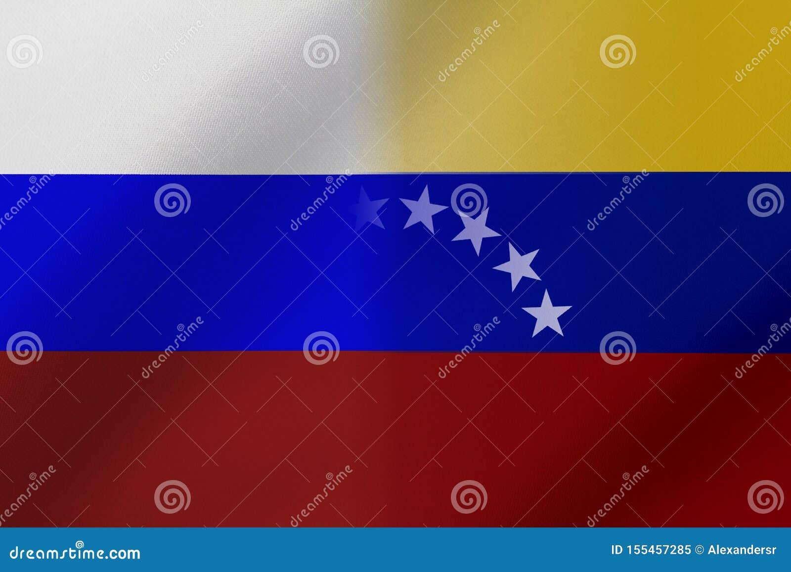 Drapeau de le Venezuela et le Russie qui viennent ensemble montrant un concept qui signifie le commerce, politique ou d autres re