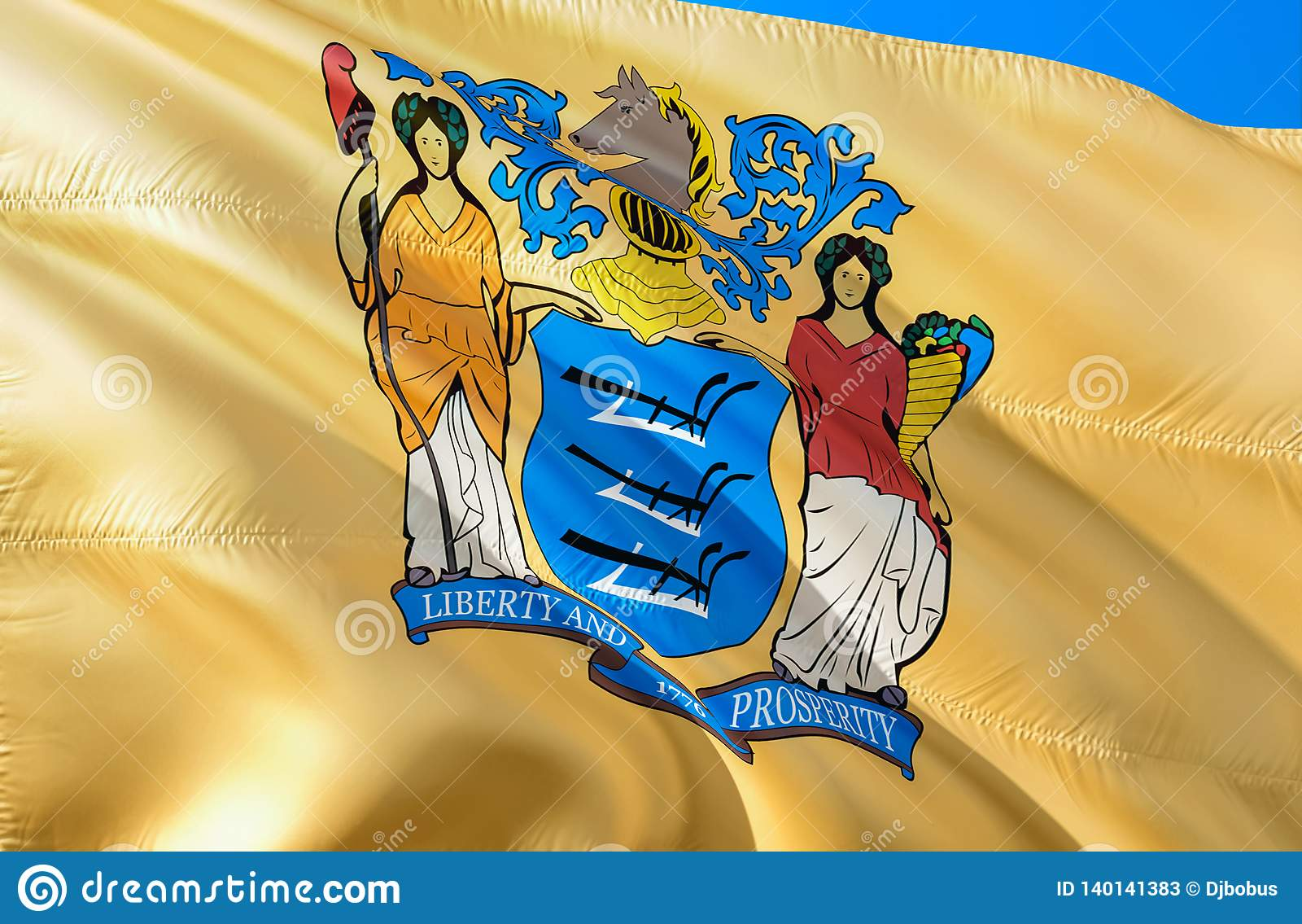 Drapeau de New Jersey 3D ondulant la conception de drapeau d état des Etats-Unis Le symbole national des USA de l état de New Jer