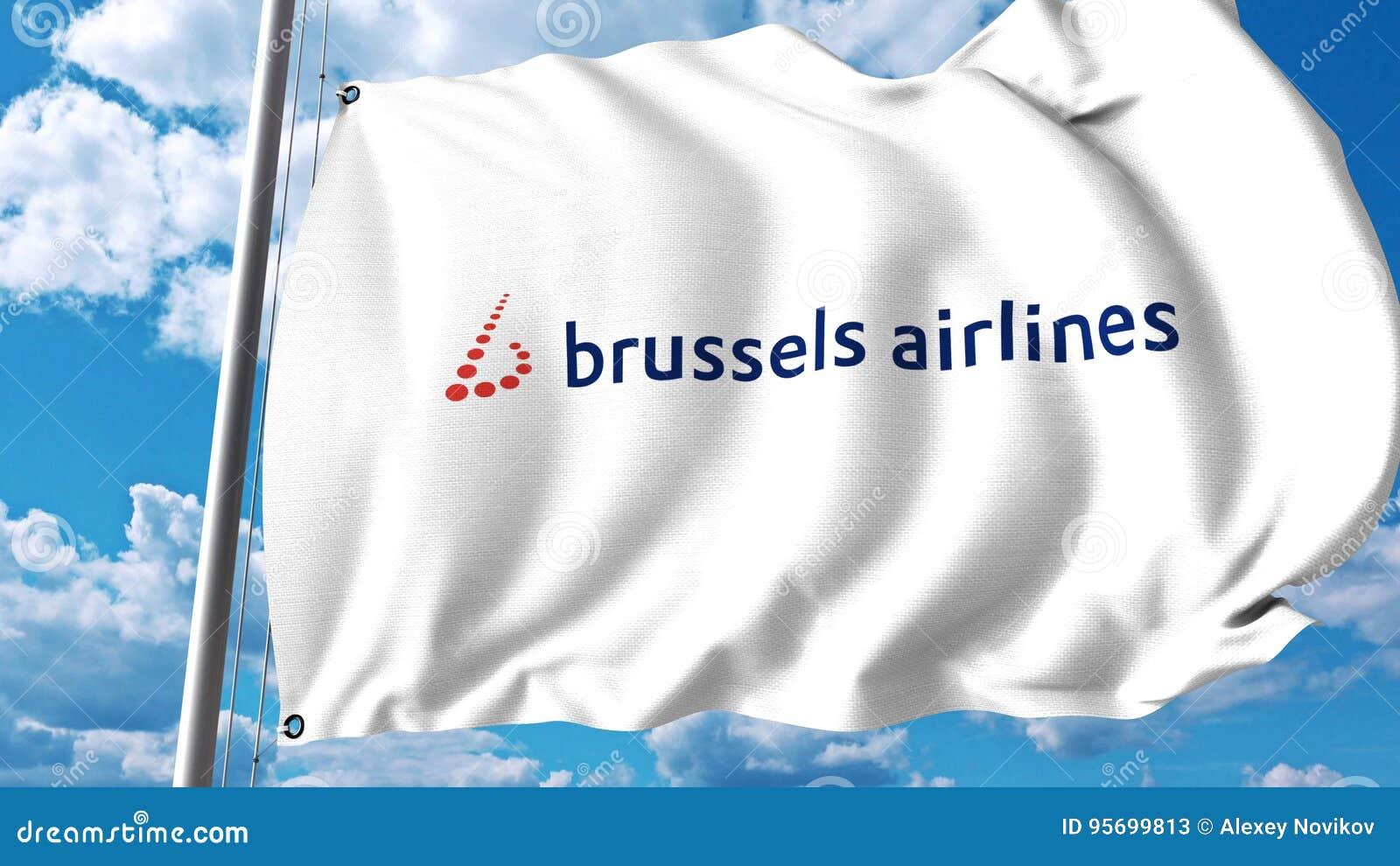 Drapeau de ondulation avec le logo de Brussels Airlines rendu 3d