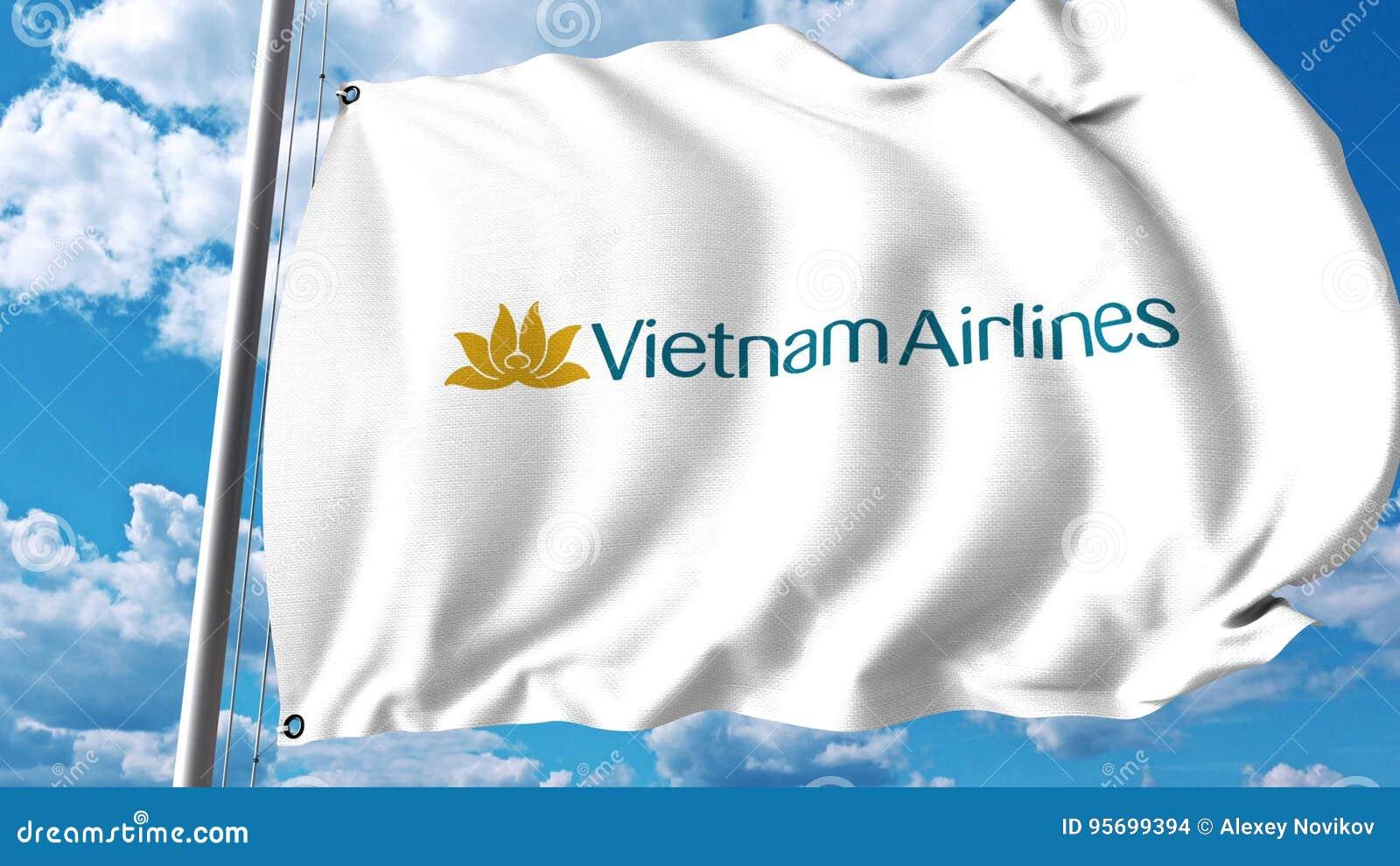 Drapeau de ondulation avec le logo de Vietnam Airlines rendu 3d