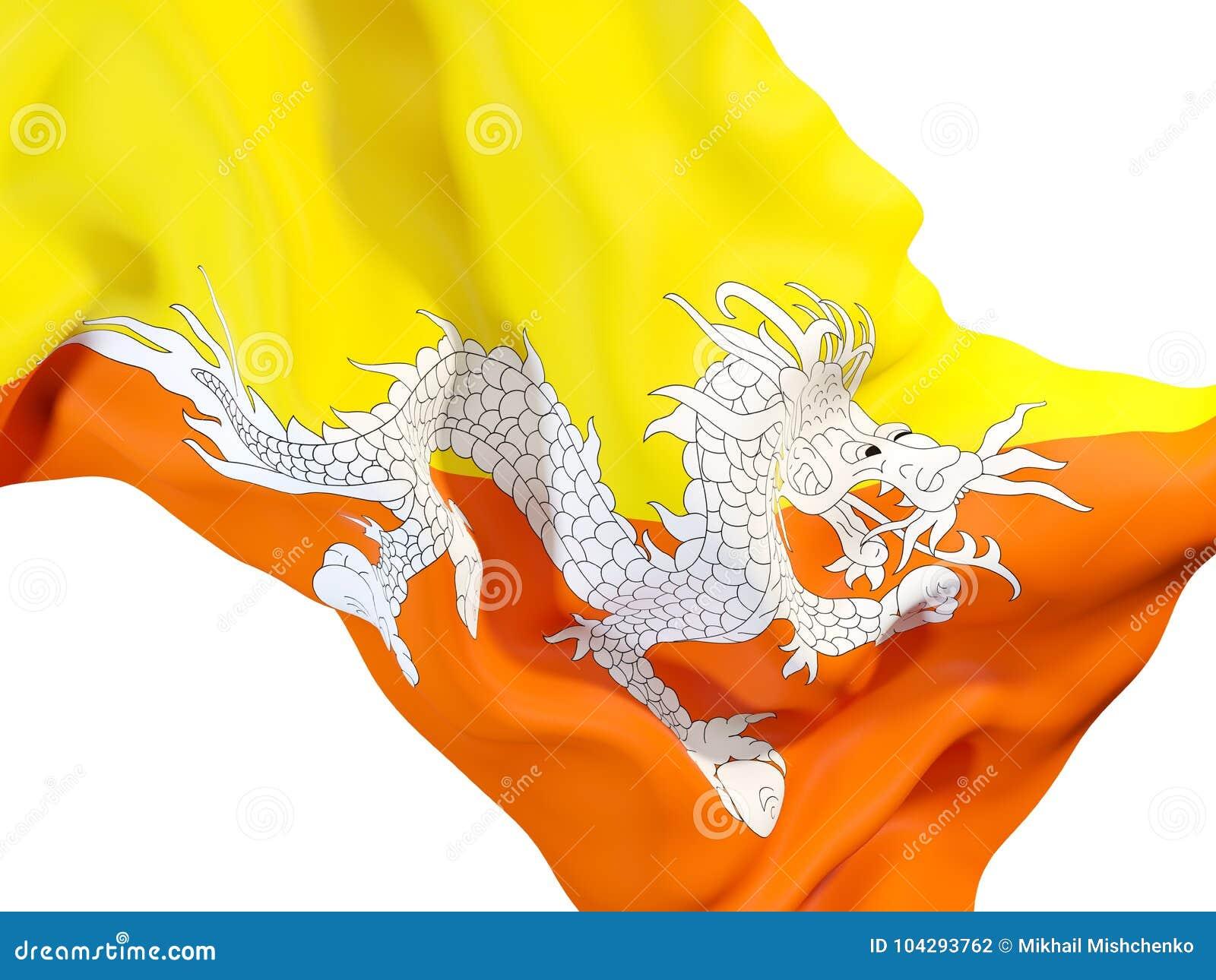 Drapeau de ondulation du Bhutan