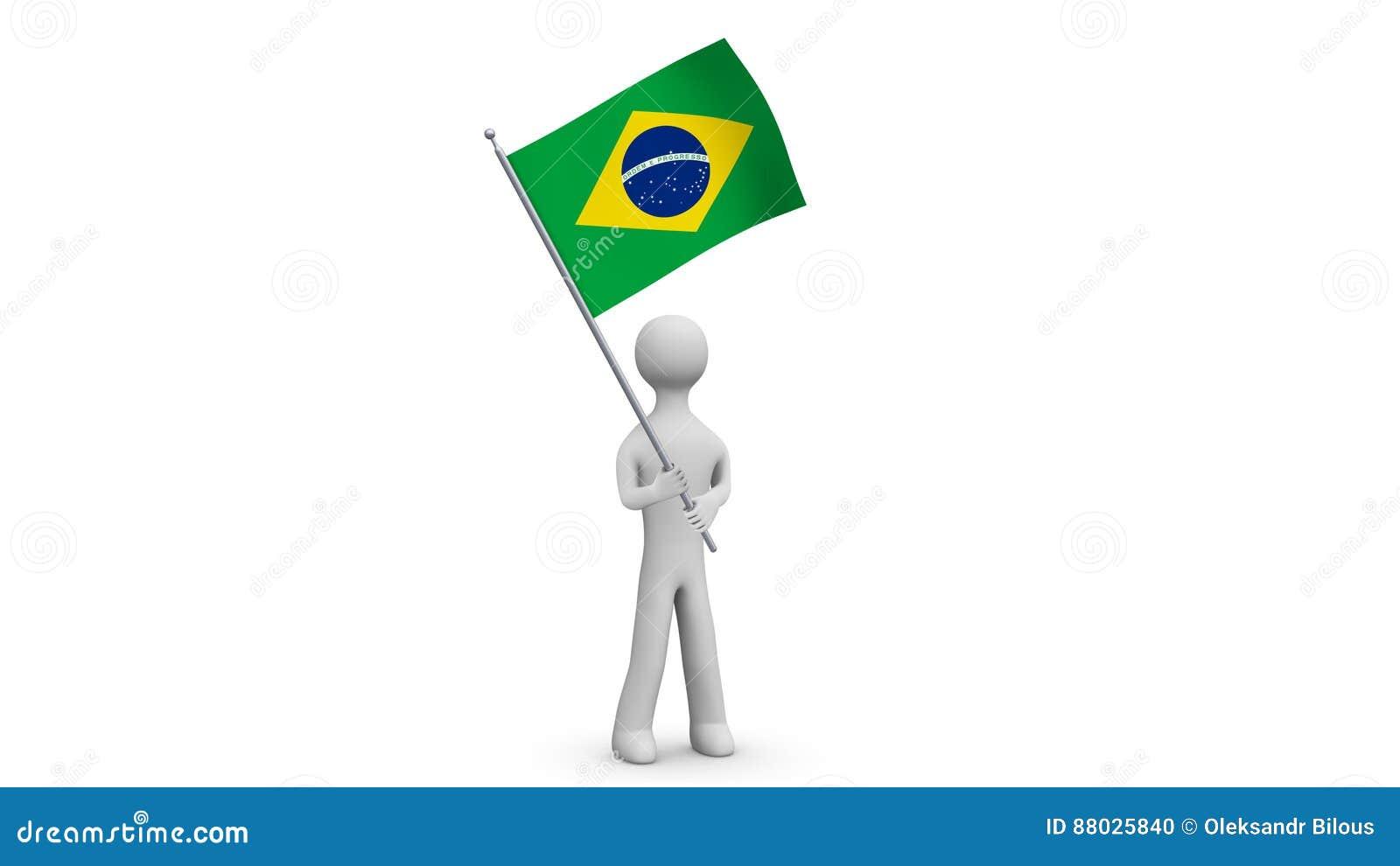 Ondulation Drapeau Homme Ondulant 3d Et Du Brésil Le Tenant De QrBodeWCx