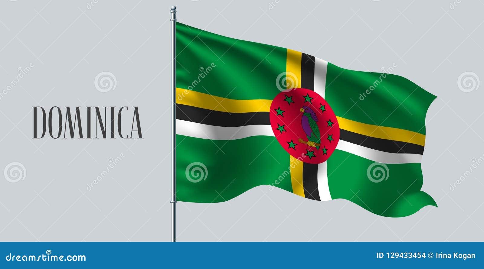 Drapeau de ondulation de la Dominique sur l illustration de vecteur de mât de drapeau