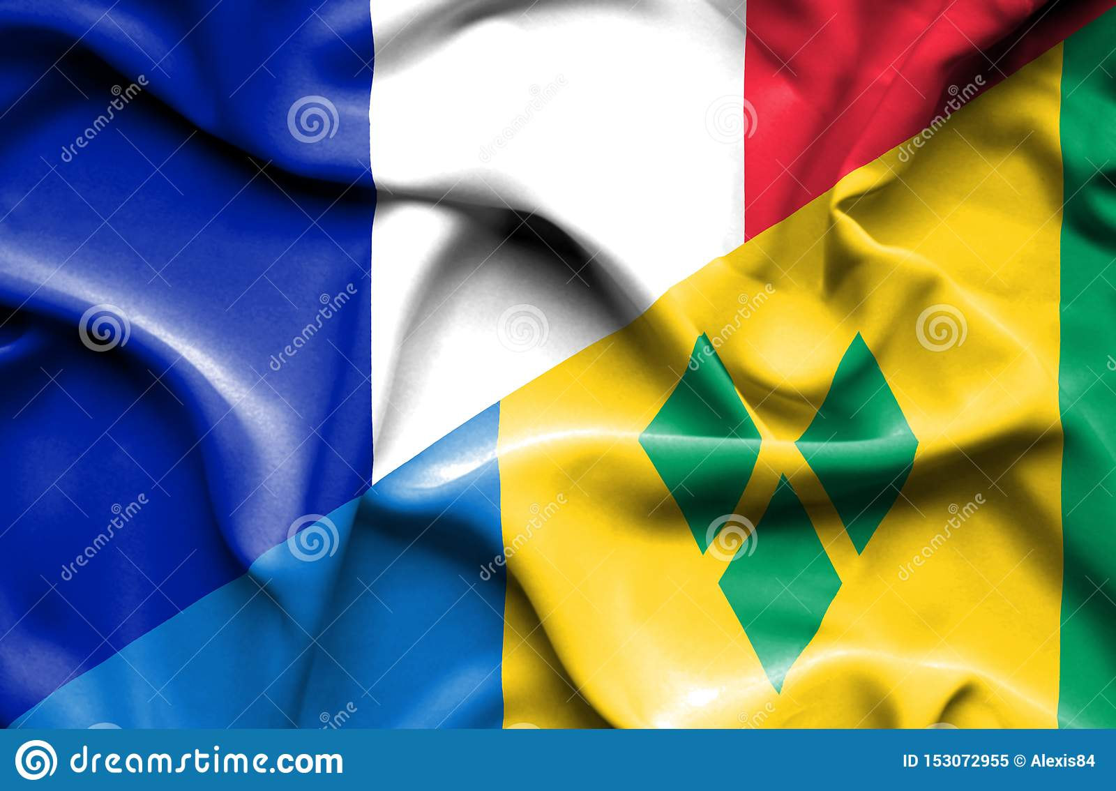 Drapeau de ondulation de Saint Vincent et grenadines et la France