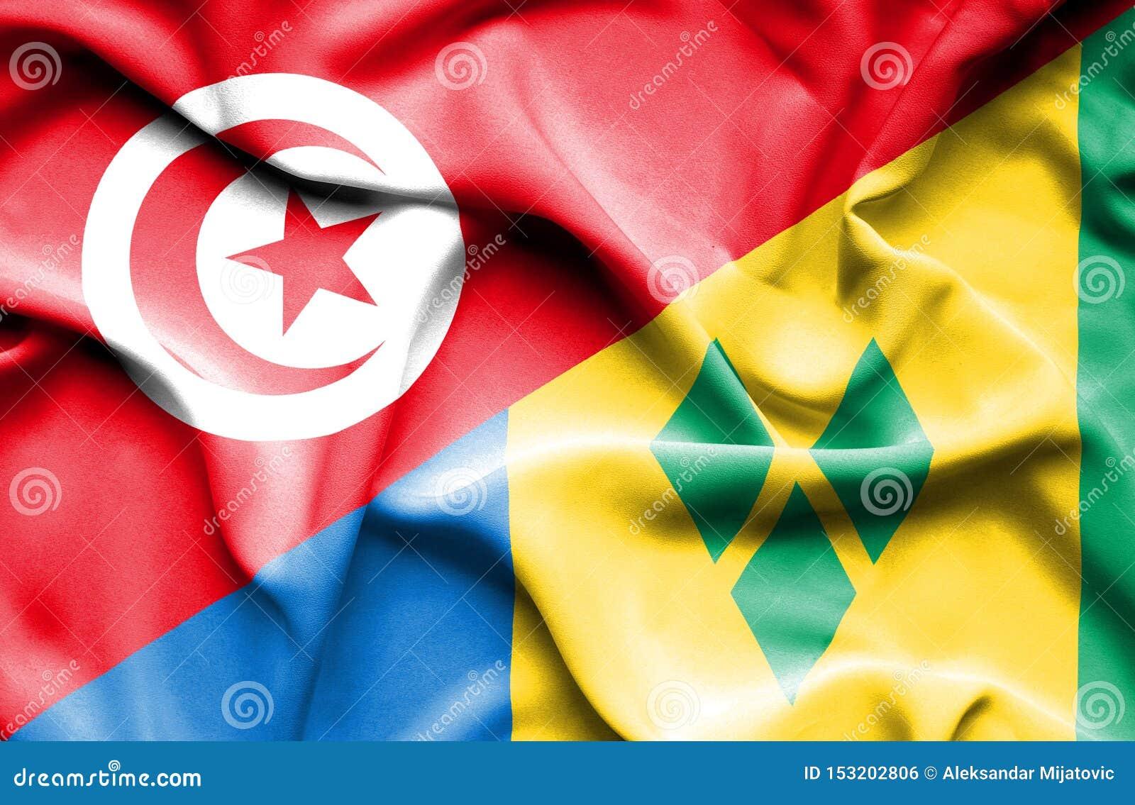 Drapeau de ondulation de Saint Vincent et grenadines et la Tunisie