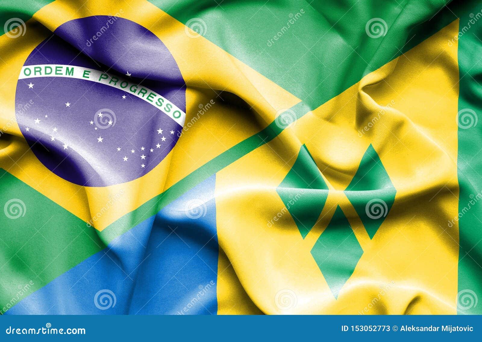 Drapeau de ondulation de Saint Vincent et grenadines et le Brésil