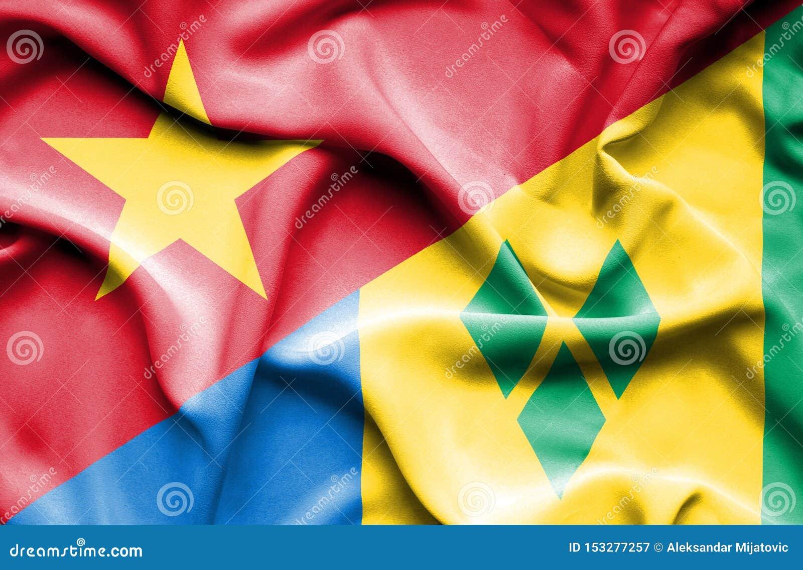 Drapeau de ondulation de Saint Vincent et grenadines et le Vietnam