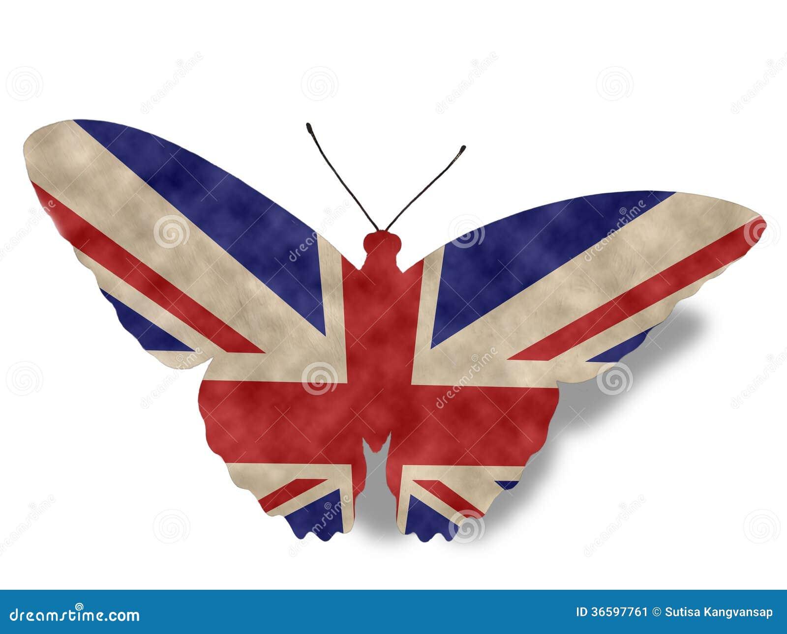 drapeau de papillon de l 39 angleterre de style de vintage sur le blanc image stock image 36597761. Black Bedroom Furniture Sets. Home Design Ideas