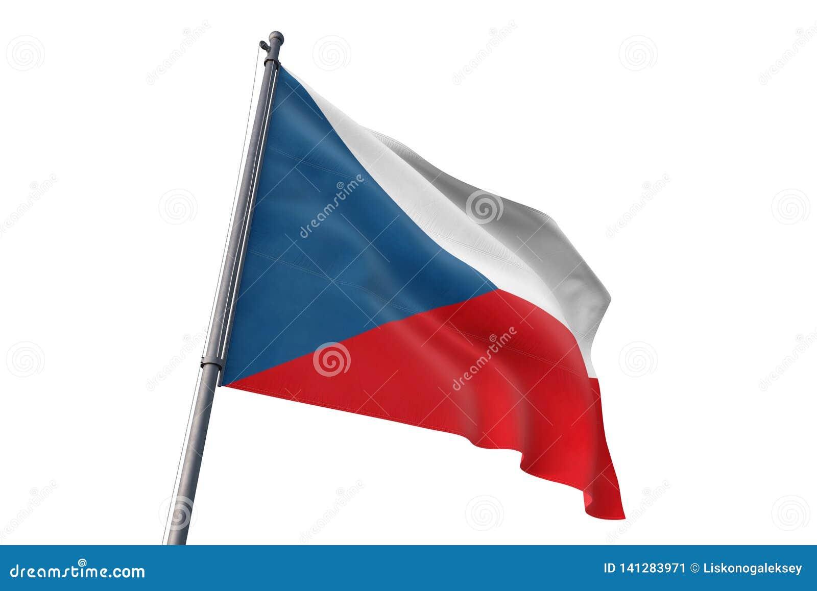 Drapeau de République Tchèque ondulant l illustration blanche d isolement du fond 3D