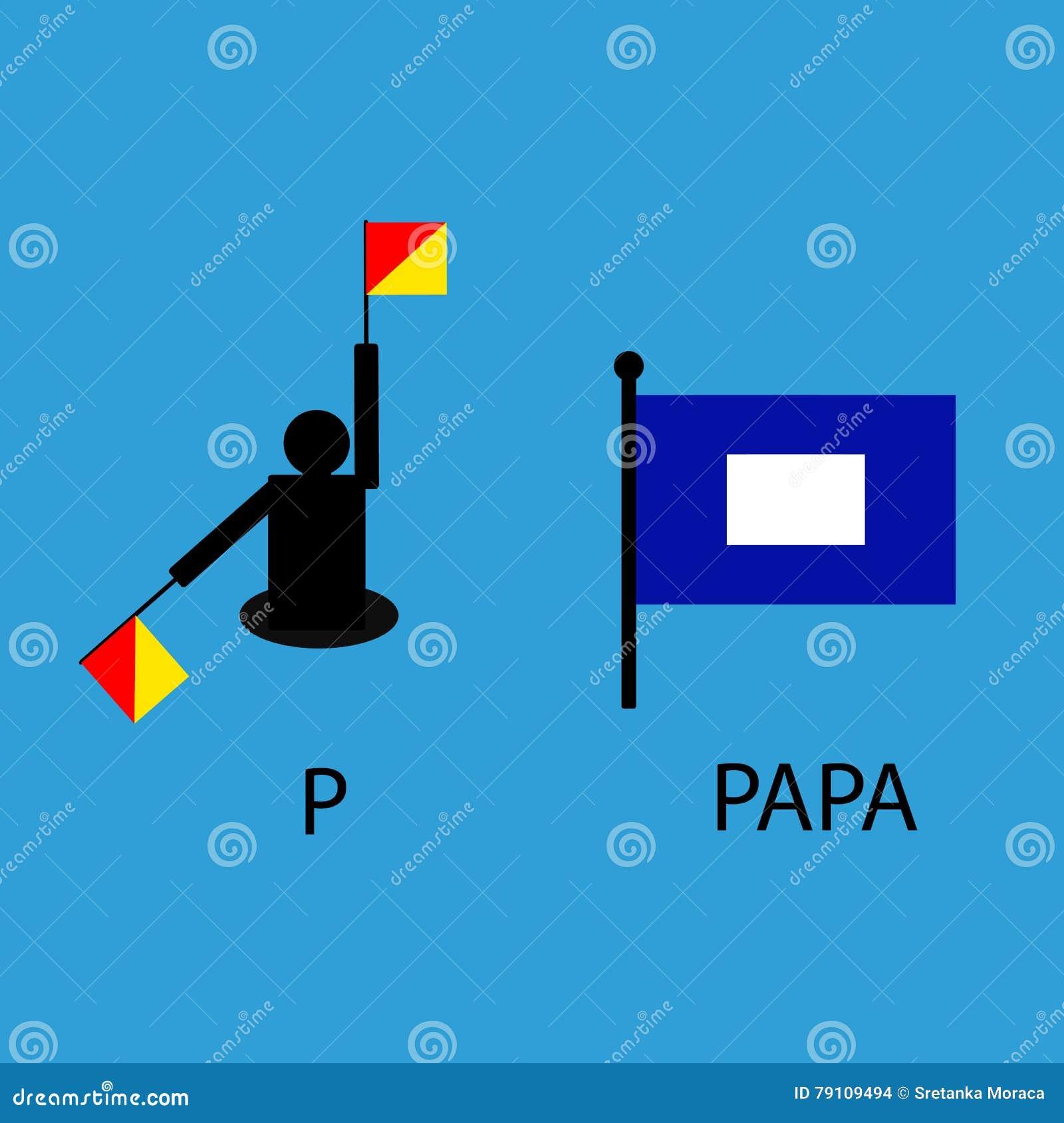 Drapeau de signal marin international, alphabet de mer, illustration de vecteur, sémaphore, communication, papa