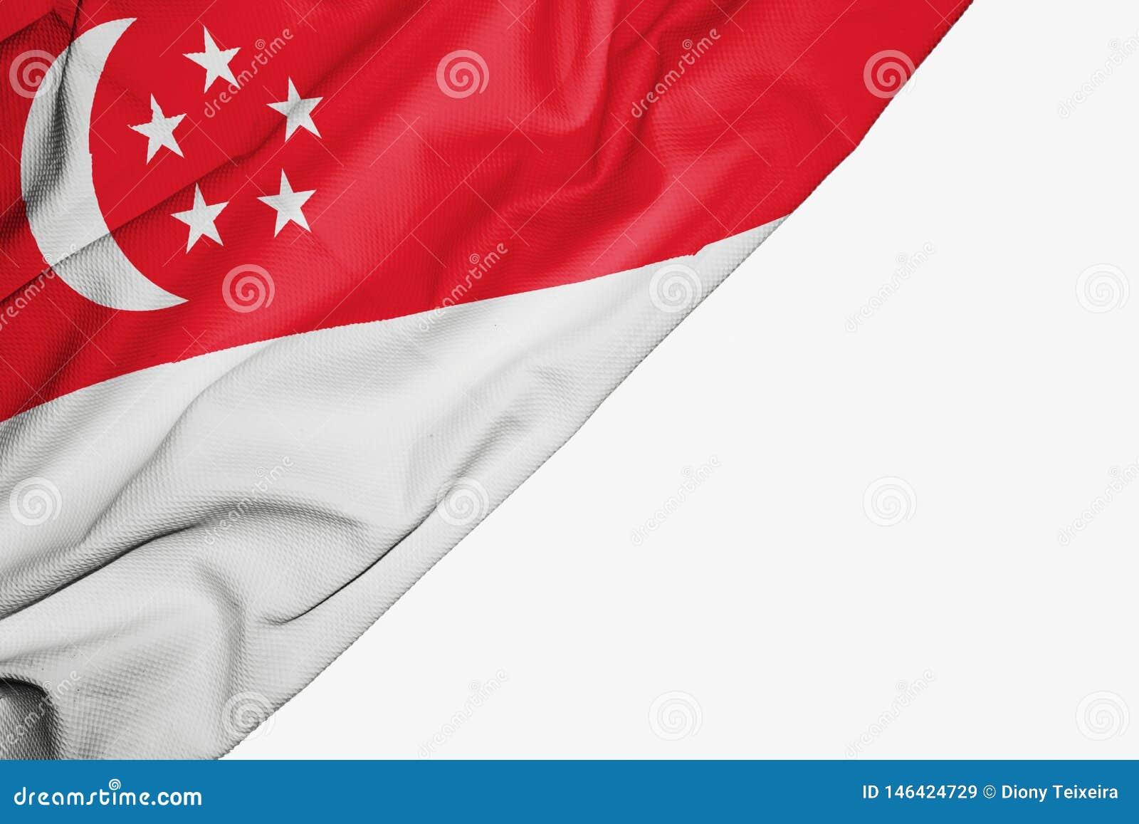 Drapeau de Singapour de tissu avec le copyspace pour votre texte sur le fond blanc