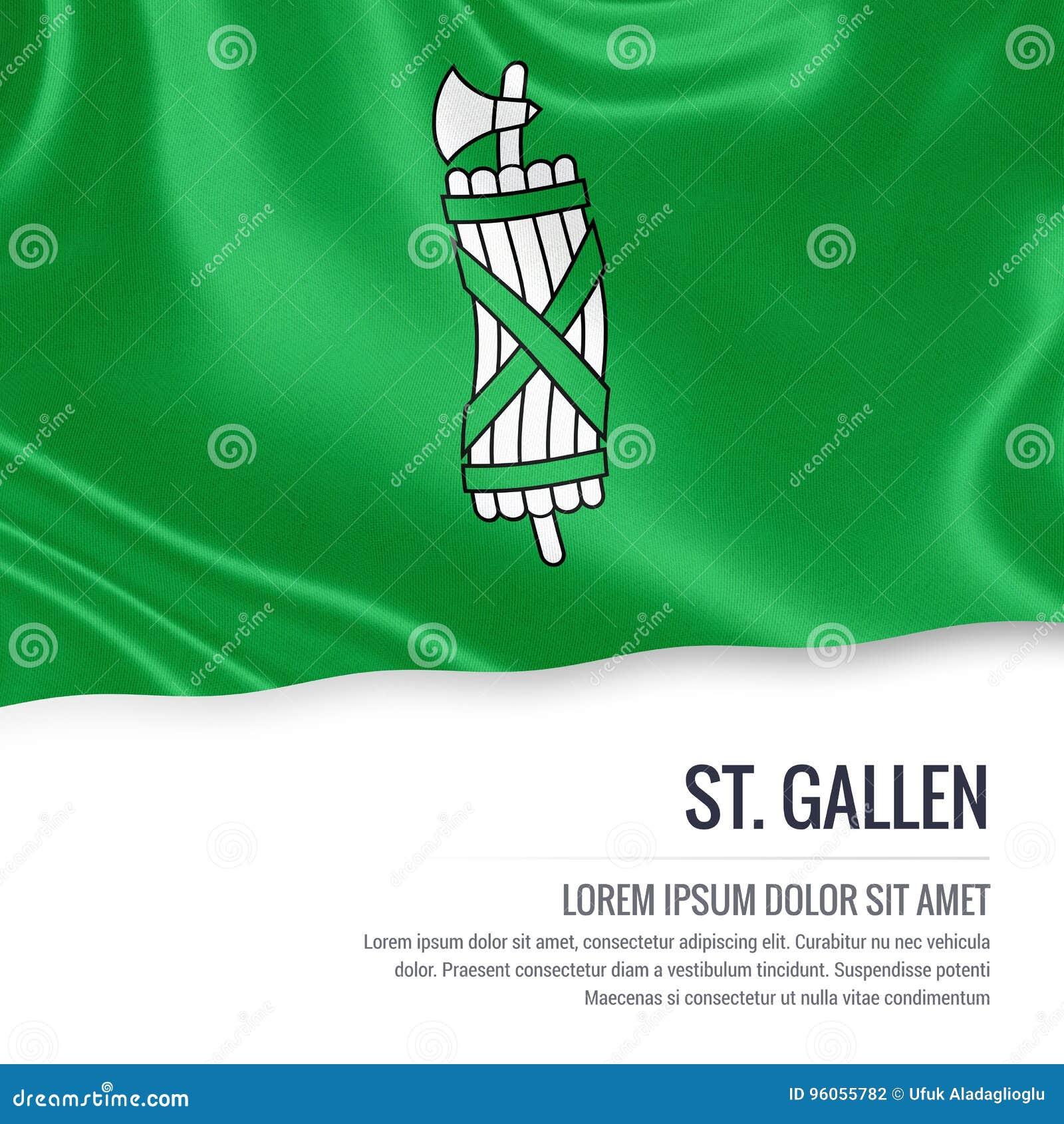 Drapeau de St Gallen d état de la Suisse