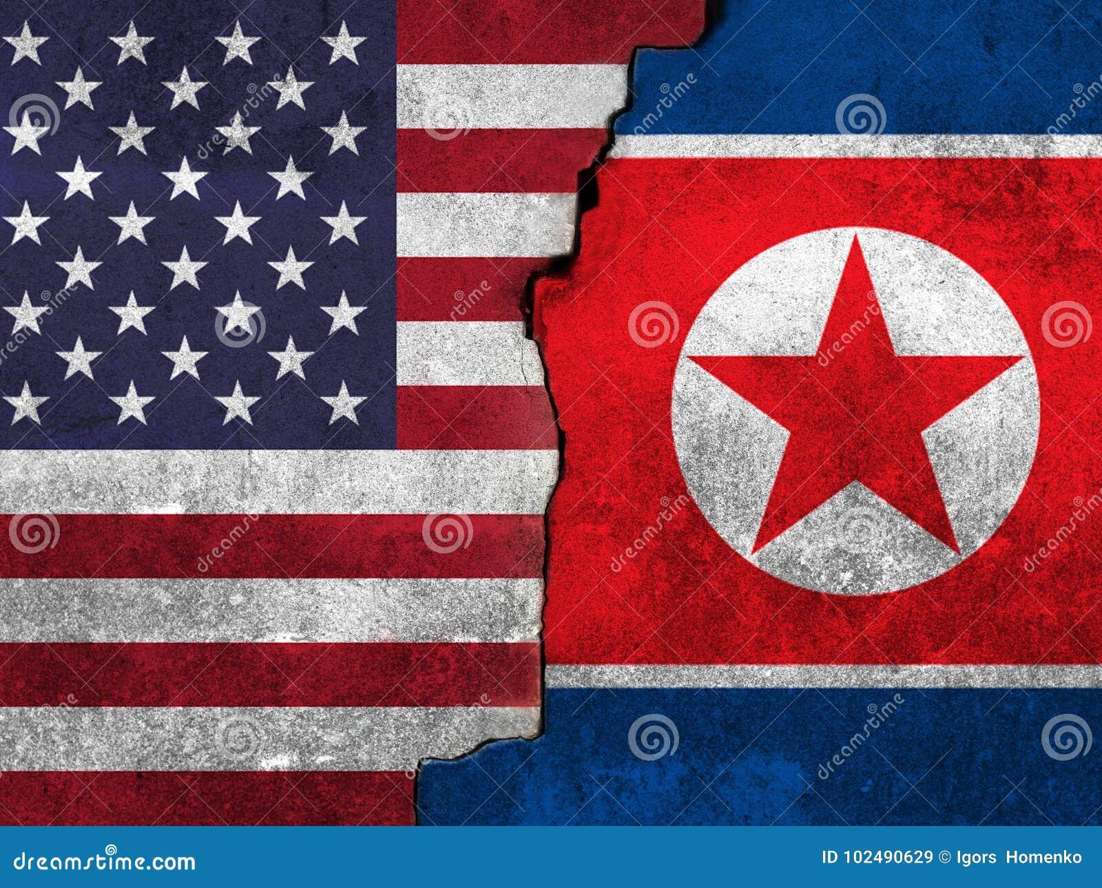 Drapeau des Etats-Unis et de la Corée du Nord