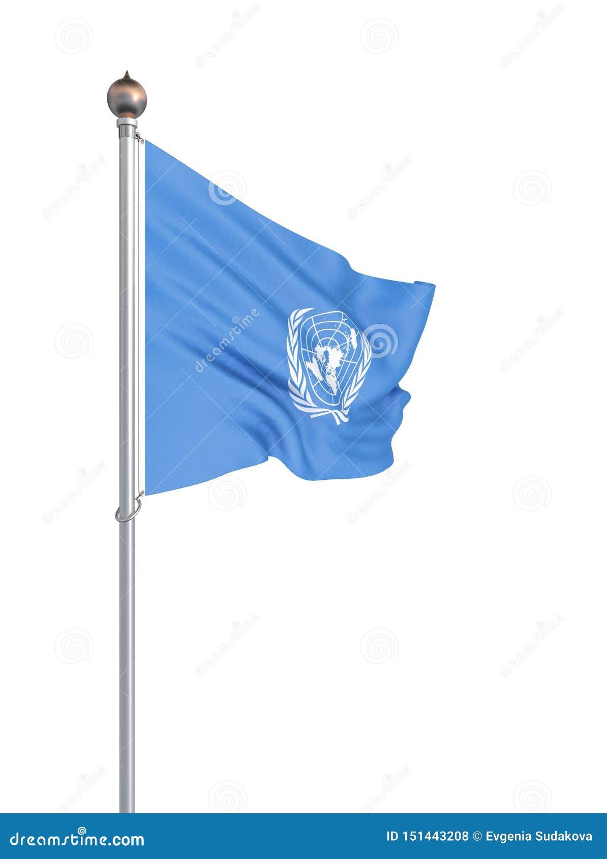 Drapeau des Nations Unies D isolement sur le blanc Illustration