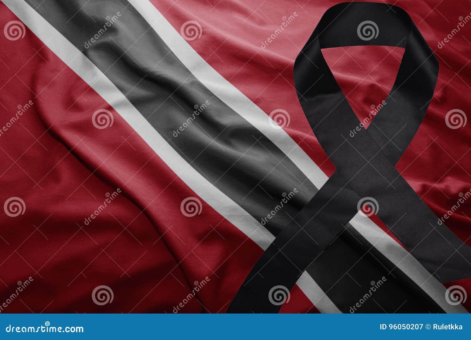 Drapeau des Trinité-et-Tabago avec le ruban de deuil noir