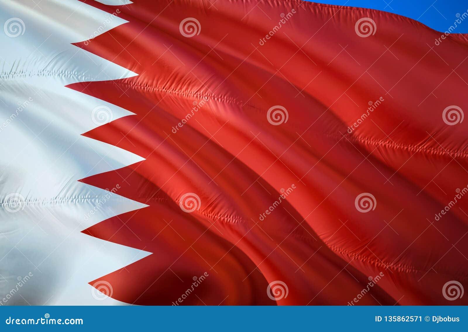 Drapeau du Bahrain conception de ondulation du drapeau 3D Le symbole national du Bahrain, rendu 3D Couleurs nationales de signe d