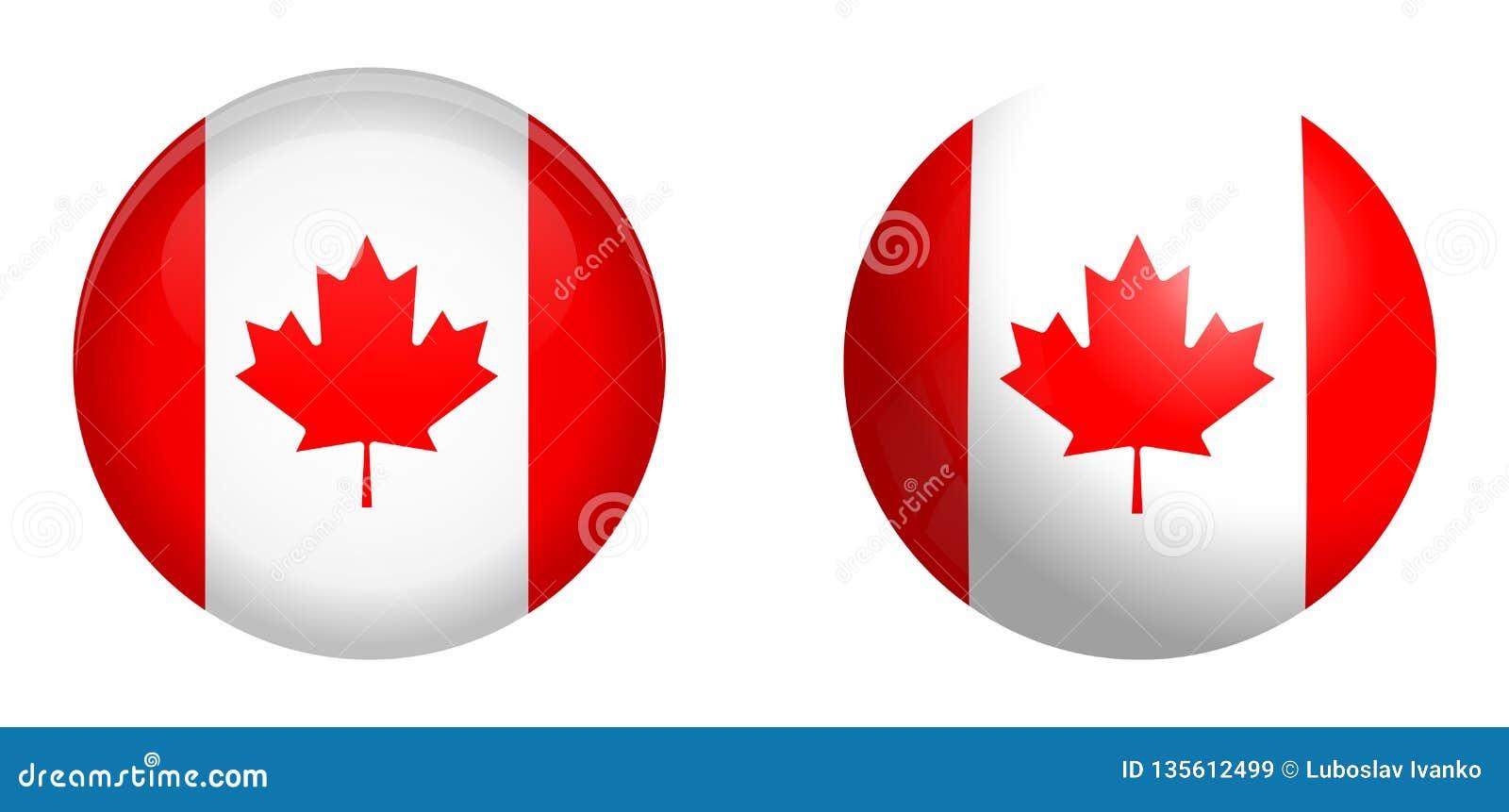 Drapeau du Canada sous le bouton du dôme 3d et sur la sphère/boule brillantes