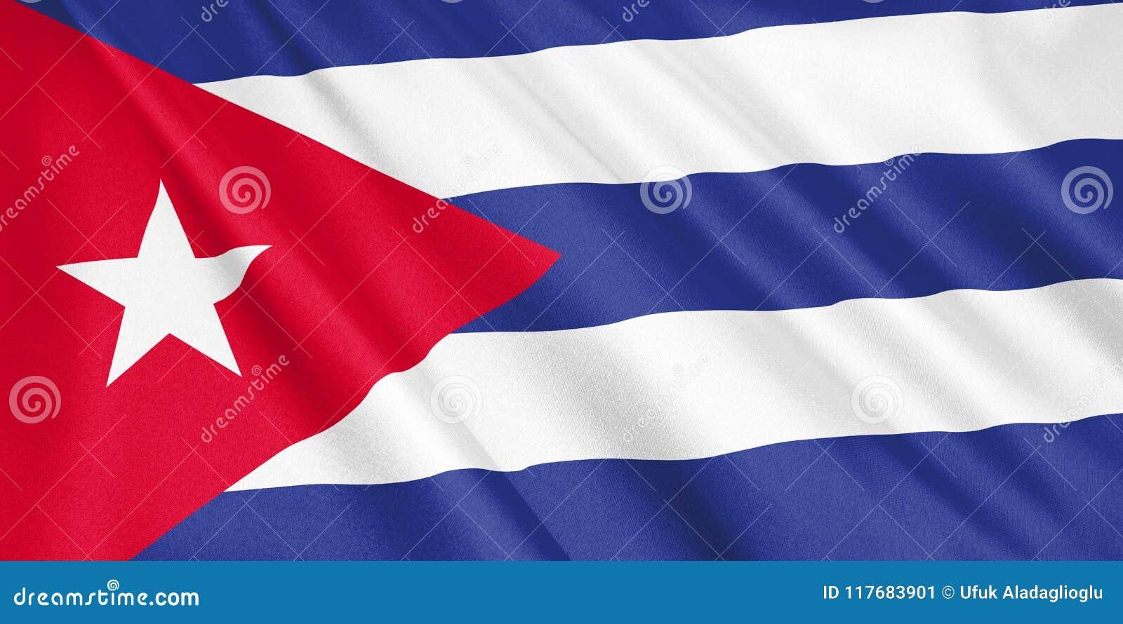 Drapeau du Cuba ondulant avec le vent
