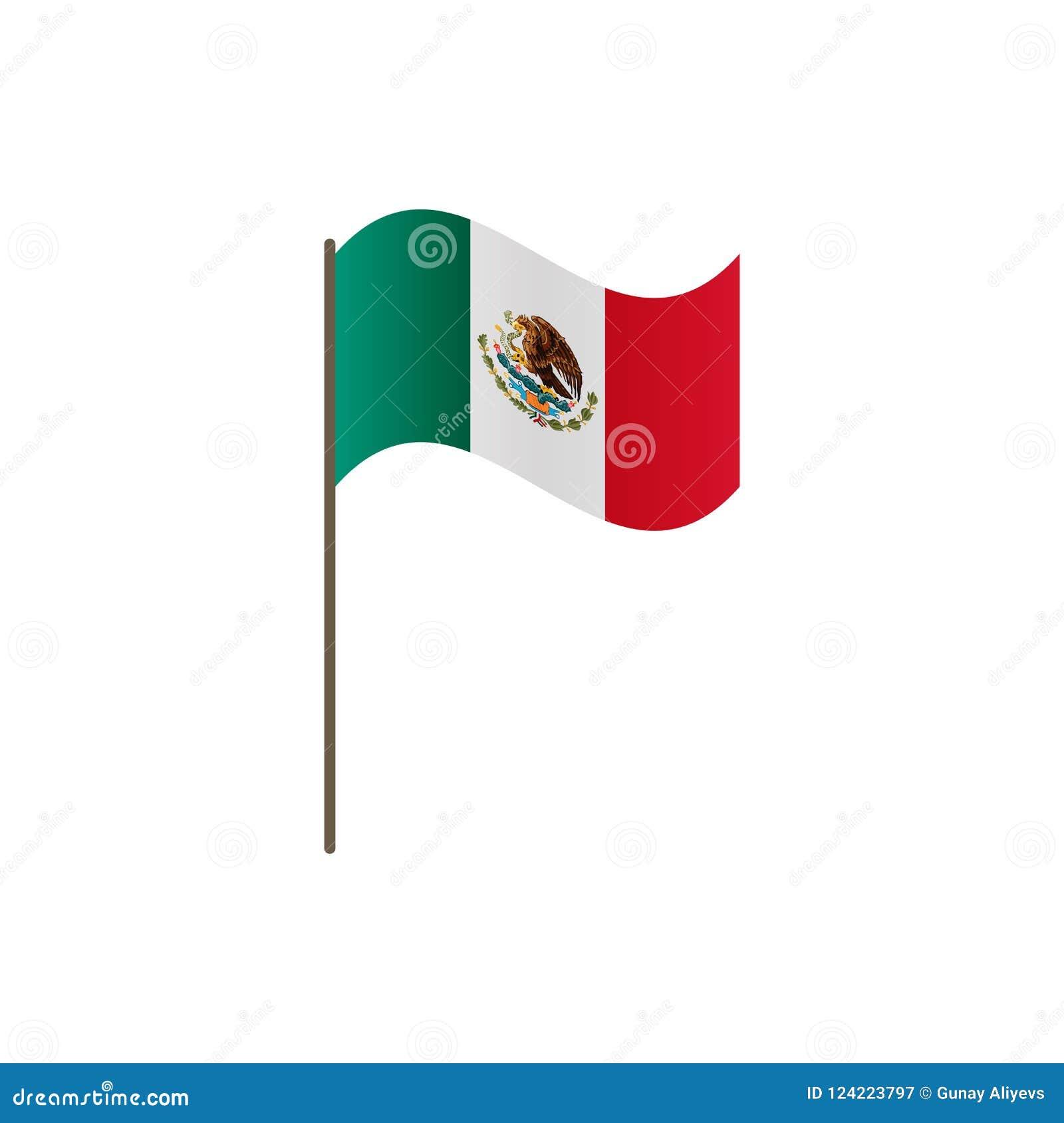 Drapeau du Mexique sur le mât de drapeau Couleurs et proportion officielles correctement Ondulation du drapeau du Mexique sur le