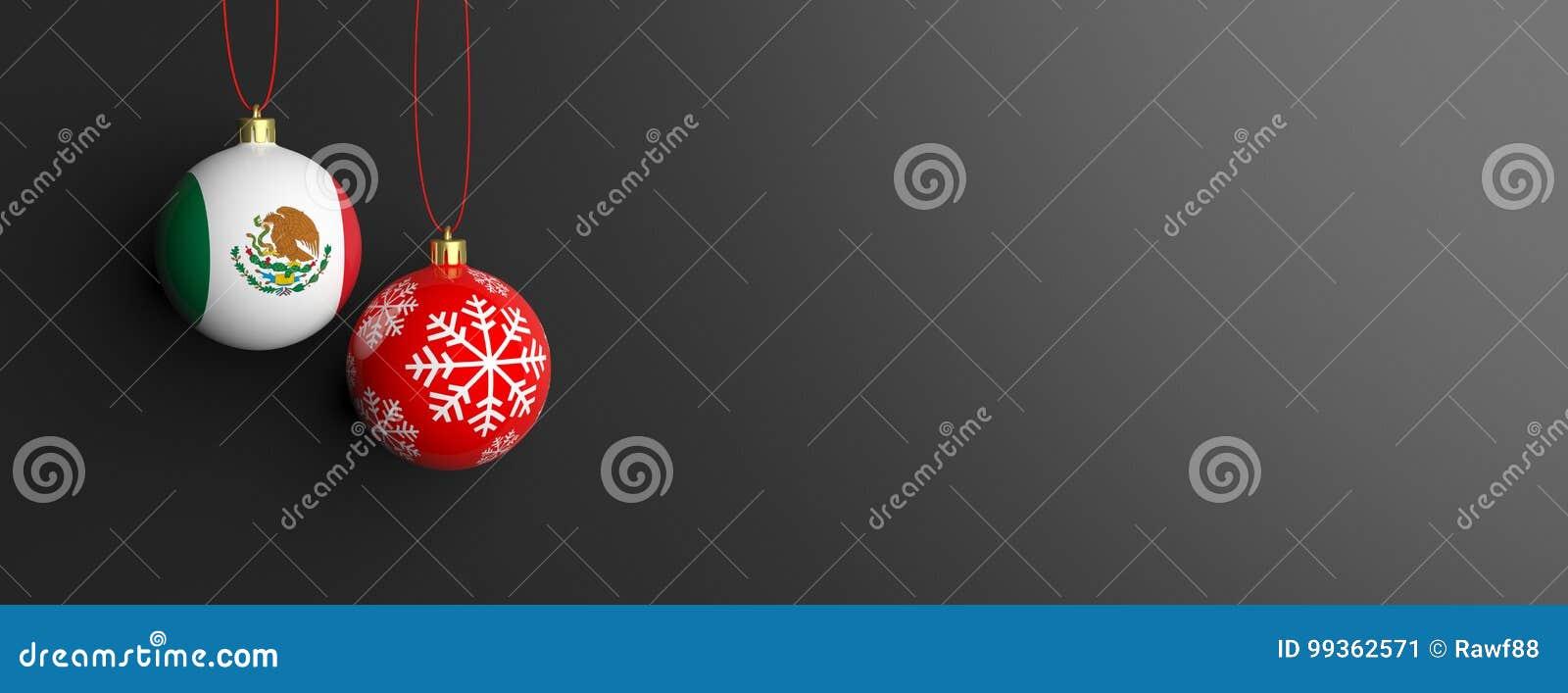Drapeau du Mexique sur une boule de Noël, fond noir illustration 3D
