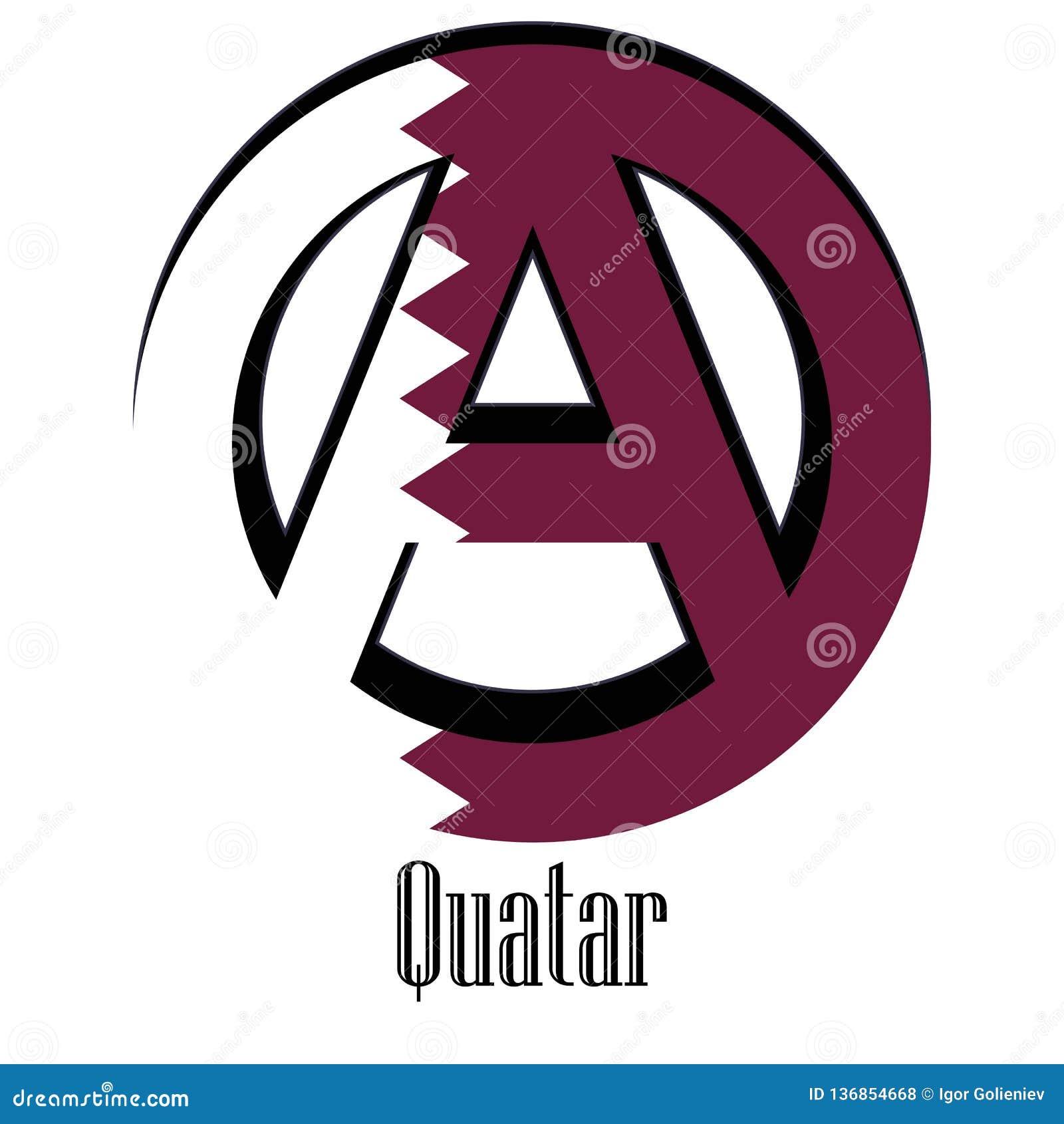 Drapeau du Qatar du monde sous forme de signe d anarchie
