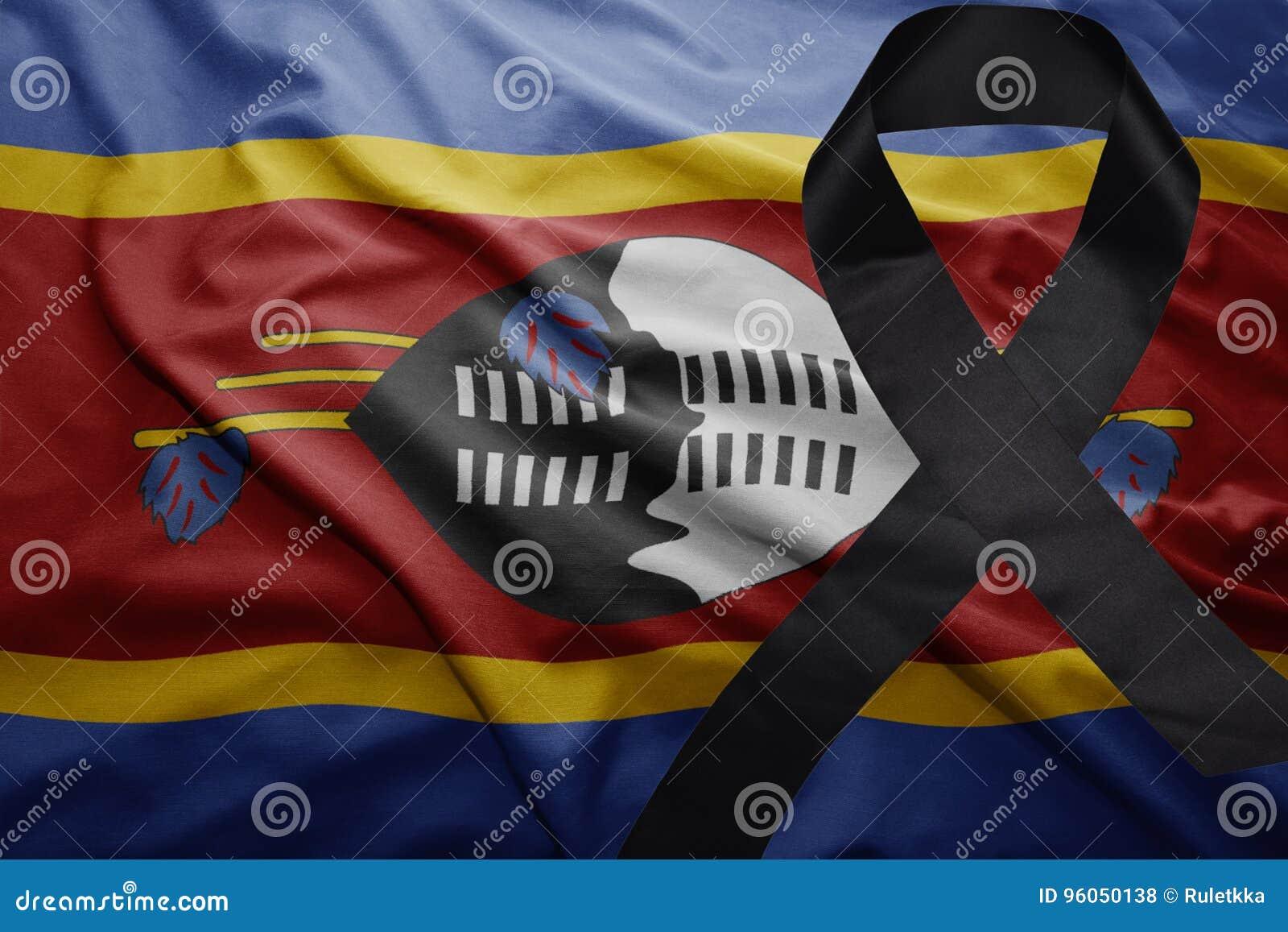 Drapeau du Souaziland avec le ruban de deuil noir