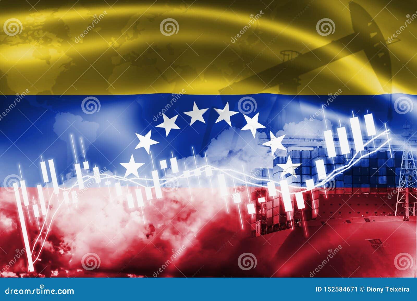 Drapeau du Venezuela, marché boursier, économie d échange et commerce, production de pétrole, navire porte-conteneurs dans des af