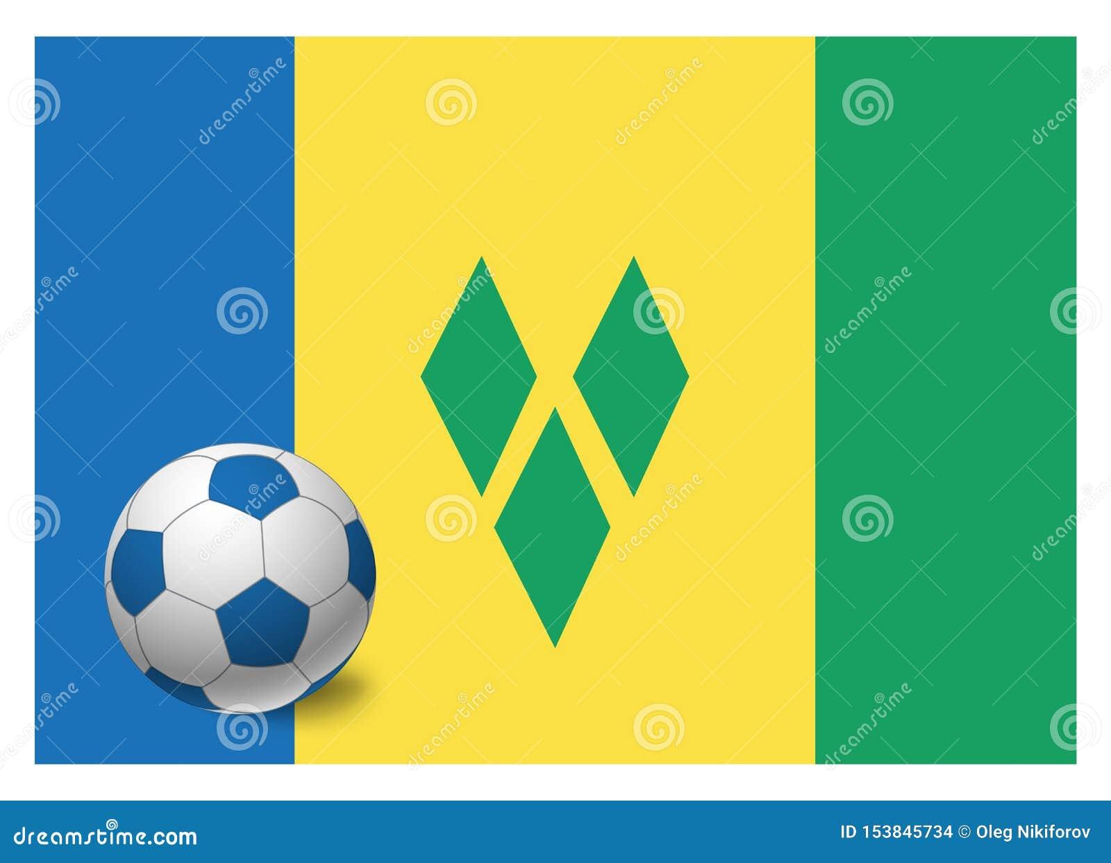 Drapeau et ballon de football de Saint-Vincent-et-les-Grenadines