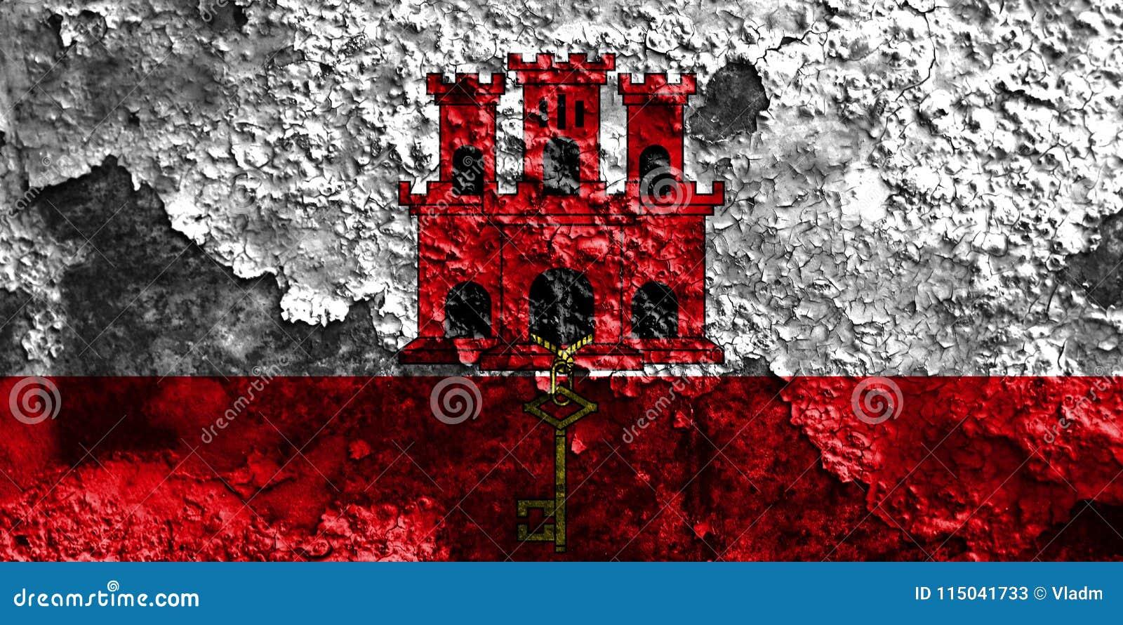 Drapeau grunge du Gibraltar, territoires d outre-mer britanniques, département de la Grande-Bretagne