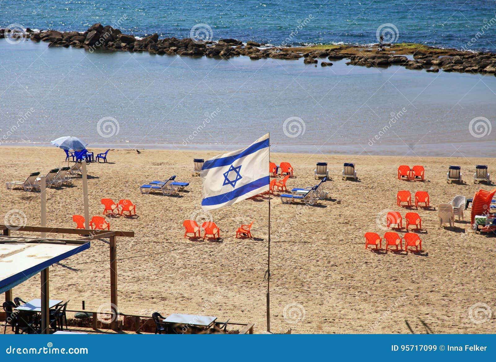 Drapeau israélien sur la plage, Tel Aviv