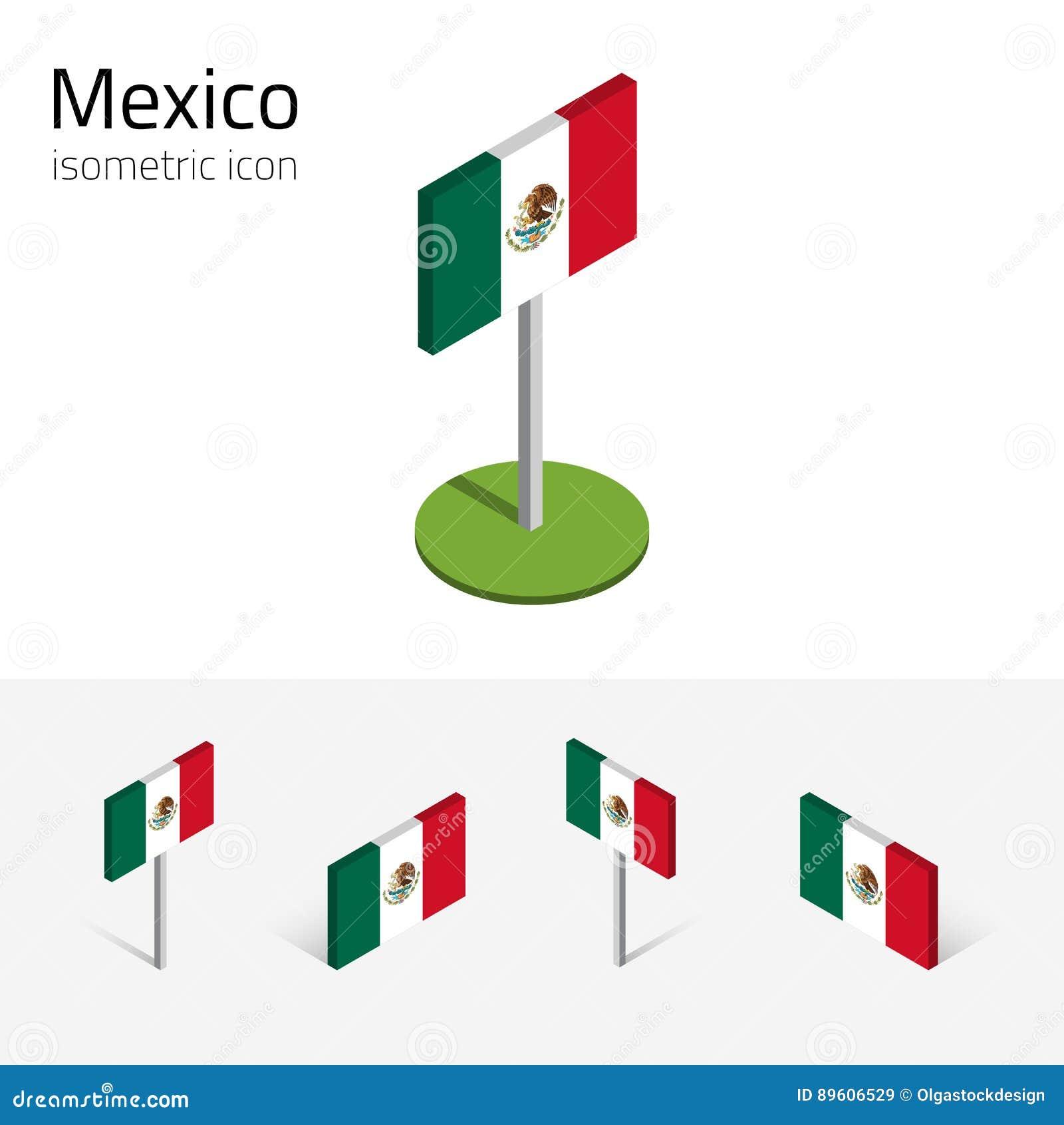 d118fbc6a6e8 Drapeau mexicain, ensemble de vecteur des icônes plates isométriques, style  3D