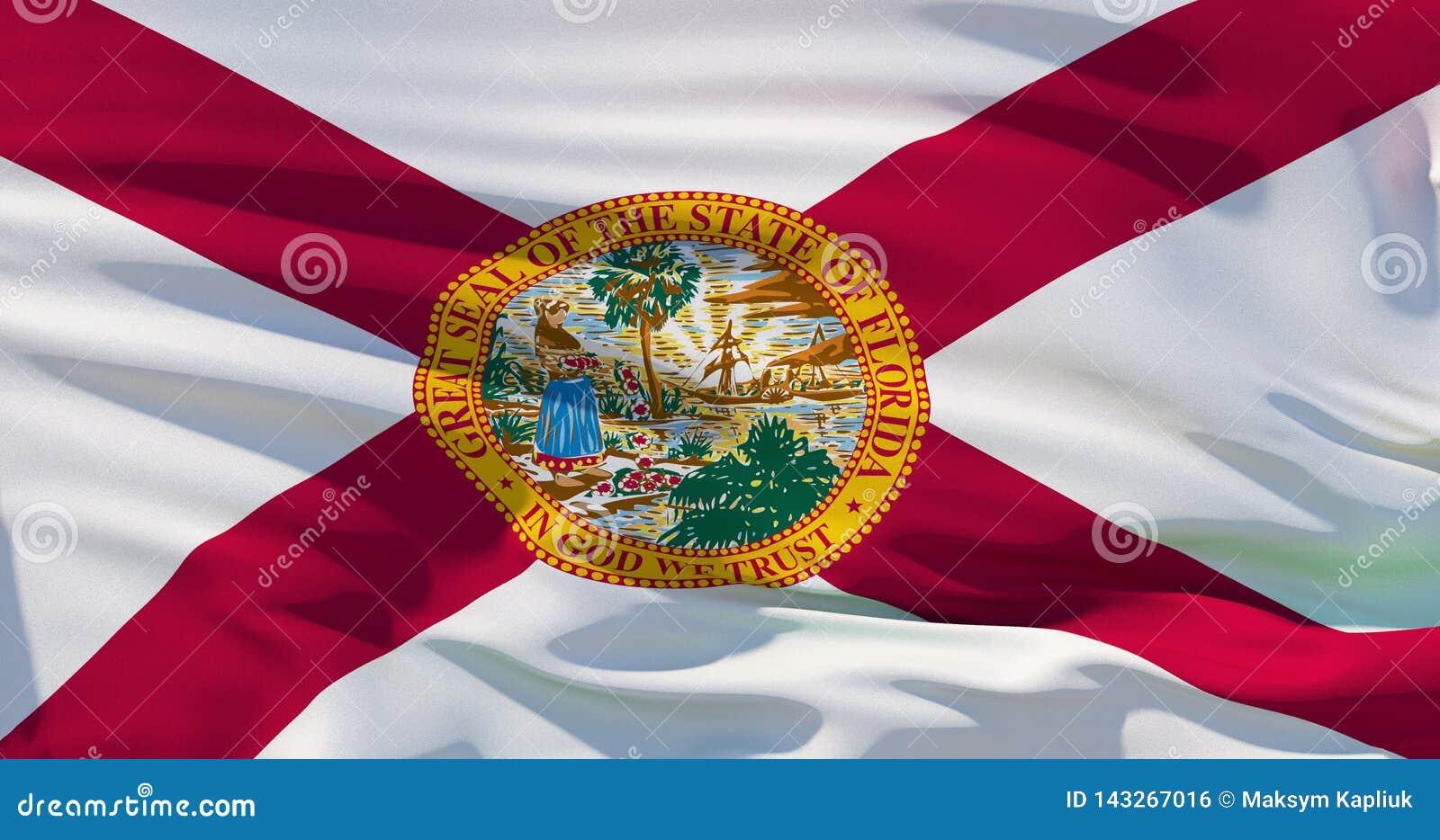 Drapeau national détaillé de ondulation d état de la Floride, USA, illustration 3d