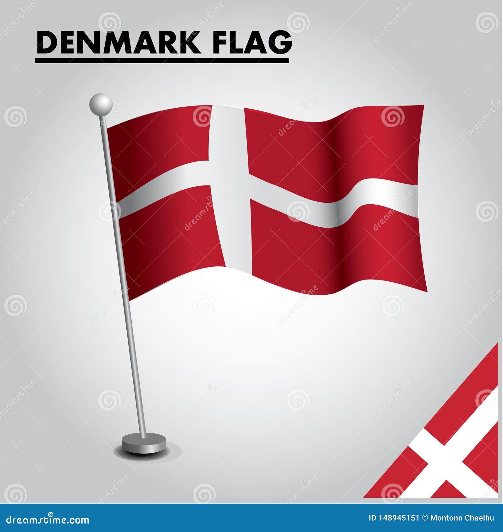 Drapeau national de drapeau du DANEMARK du DANEMARK sur un poteau
