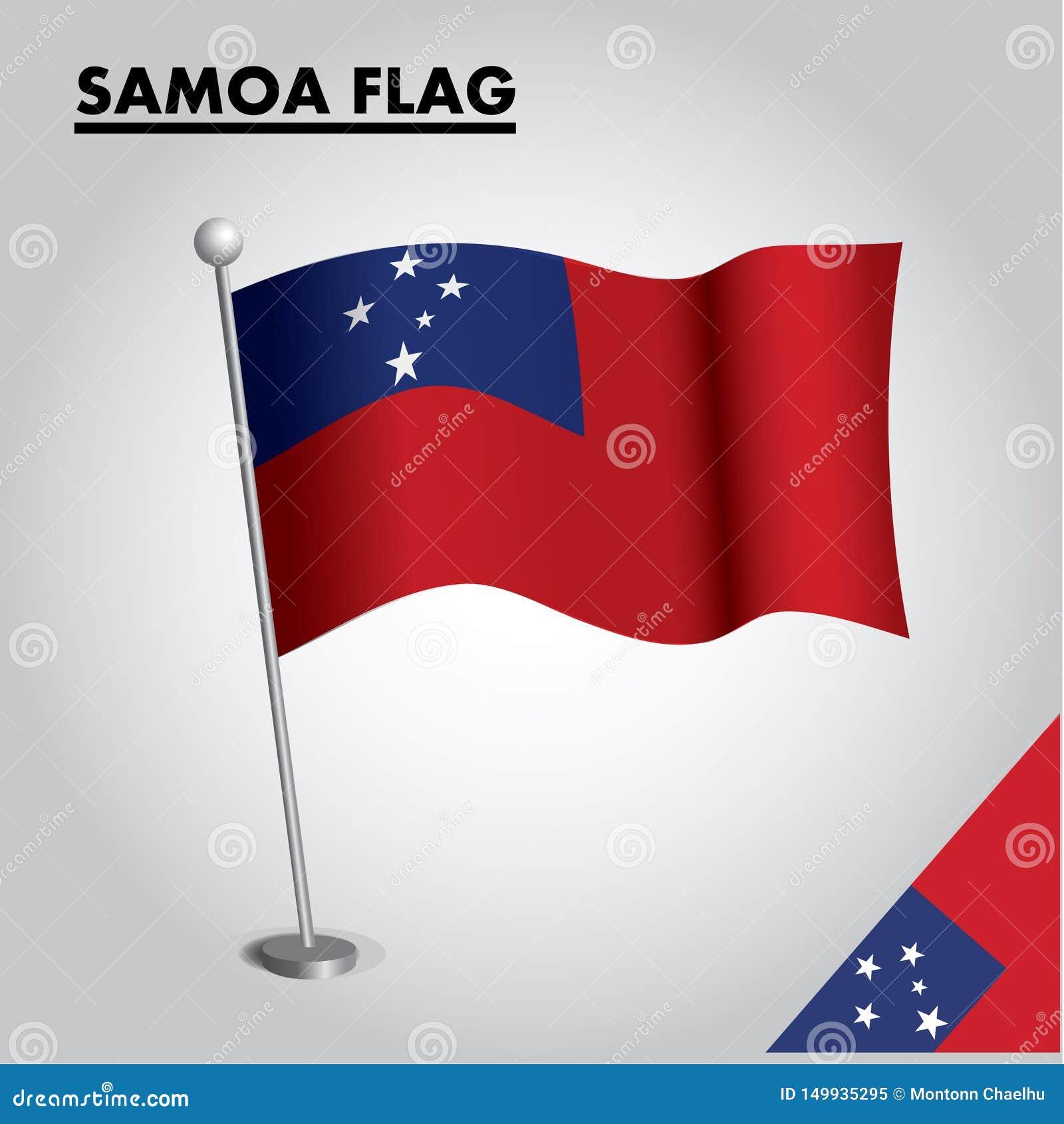 Drapeau national de drapeau du SAMOA du SAMOA sur un poteau