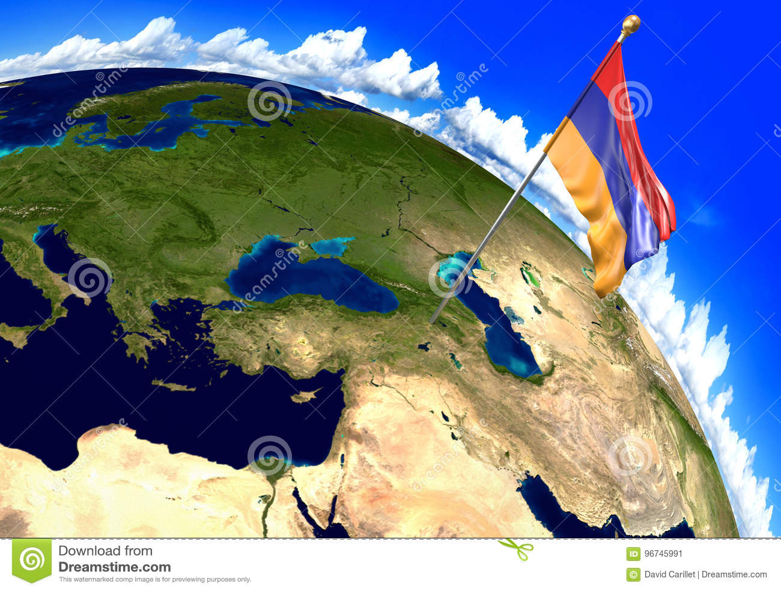 Drapeau national de l Arménie marquant l emplacement de pays sur la carte du monde