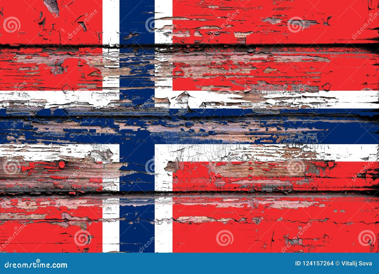 Drapeau national de la Norvège sur un fond en bois