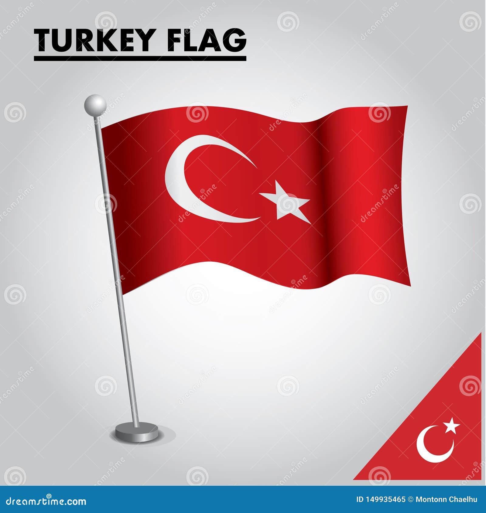 Drapeau national de drapeau de la TURQUIE de la TURQUIE sur un poteau