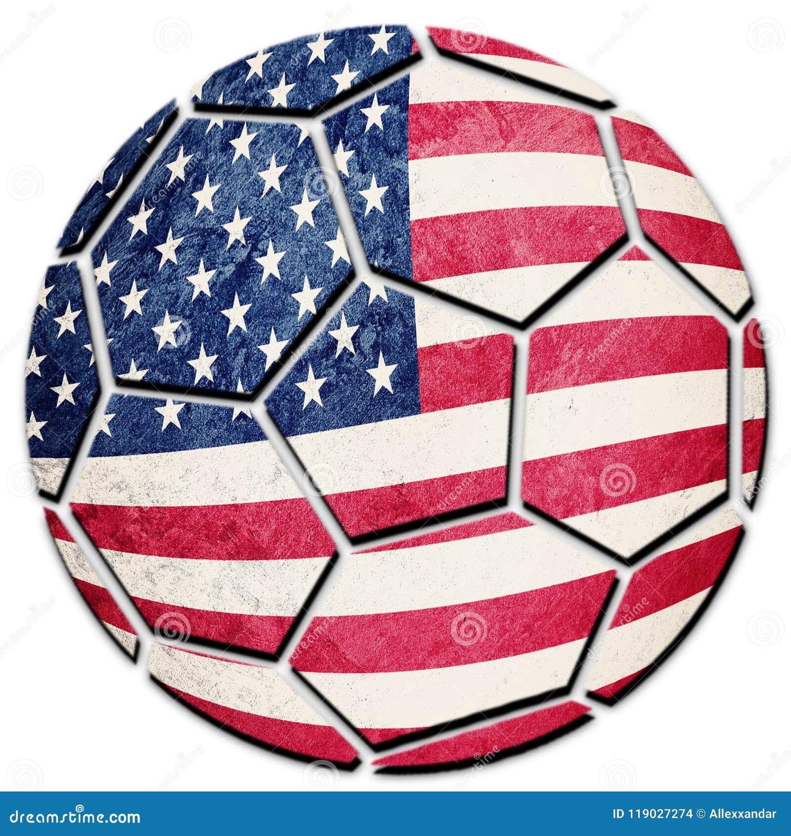Drapeau National Des Etats Unis De Ballon De Football Bille