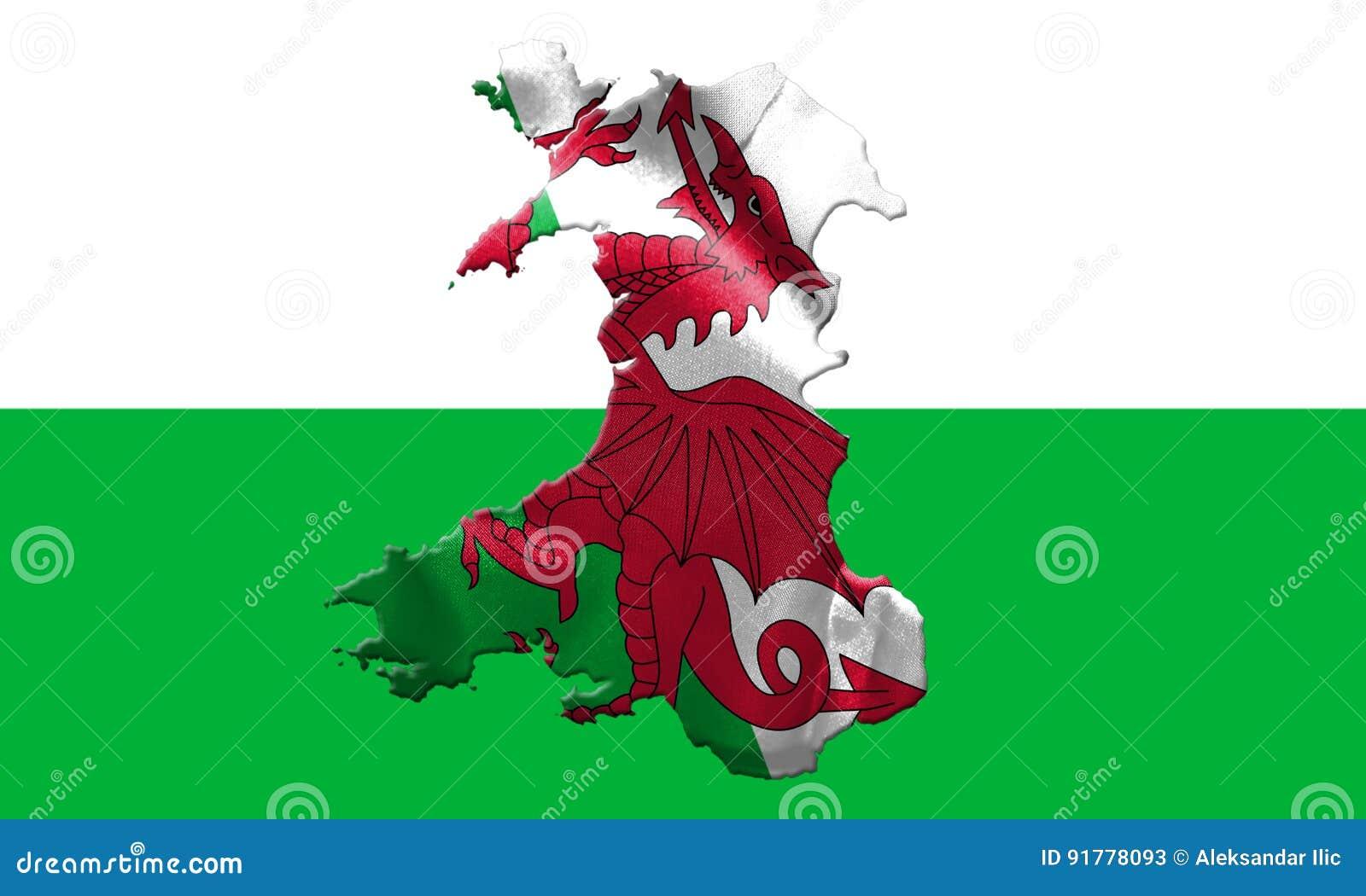 Drapeau national du Pays de Galles avec le nom du pays là-dessus illustration 3D