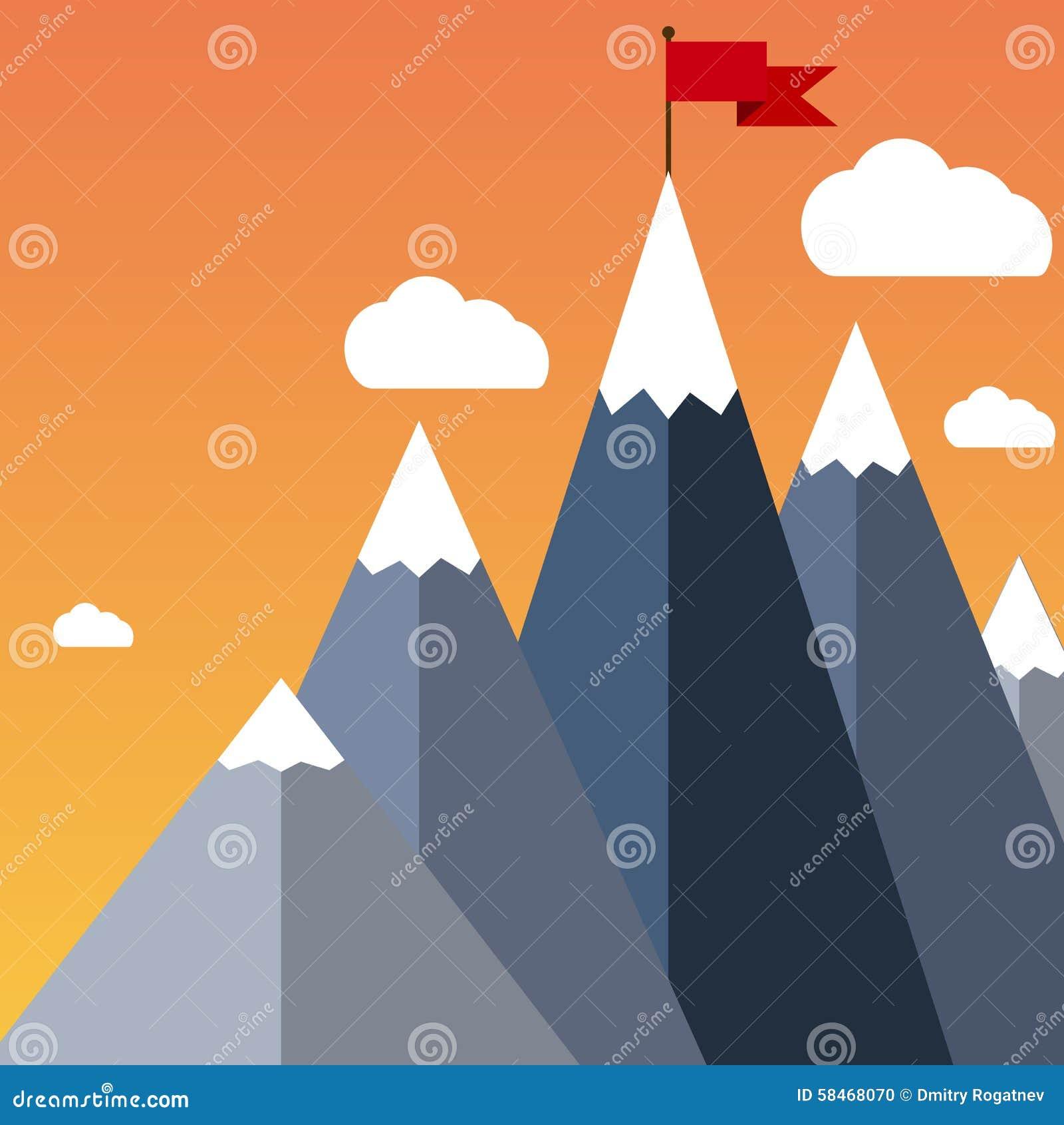 drapeau plat de vecteur sur la montagne illustration de succ s illustration de vecteur image. Black Bedroom Furniture Sets. Home Design Ideas