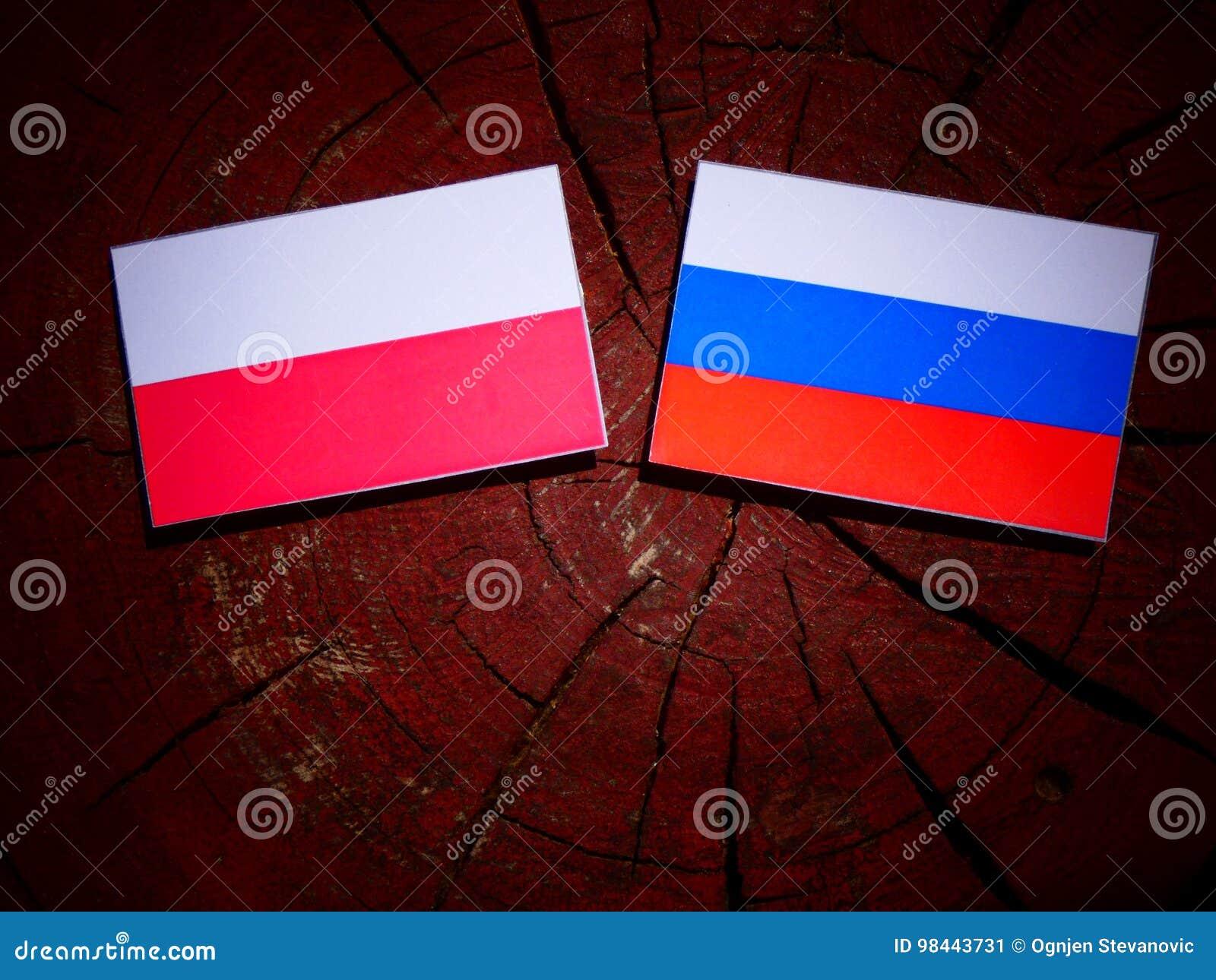 Drapeau polonais avec le drapeau russe sur un tronçon d arbre