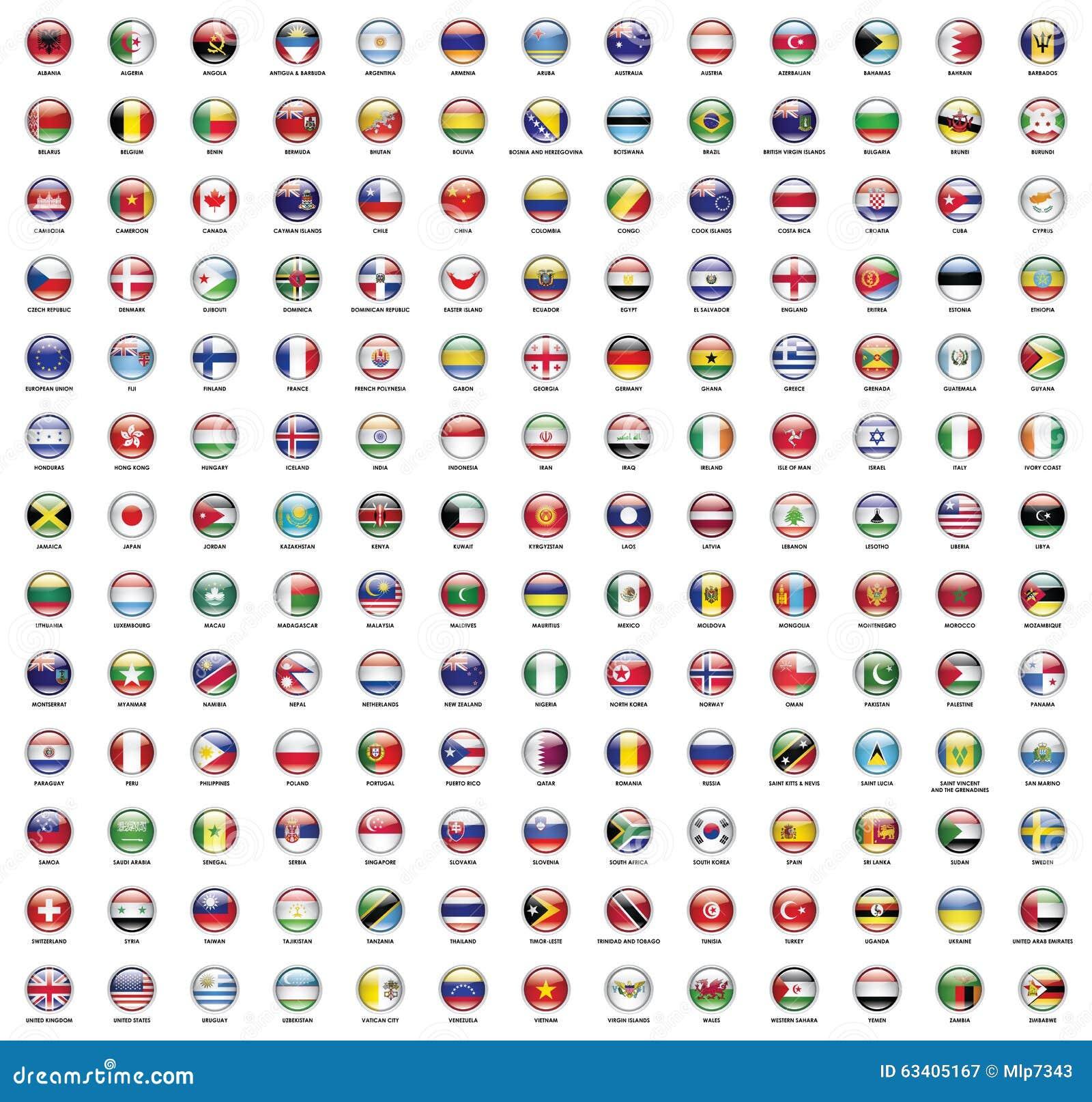 Drapeau Rond drapeau rond du monde illustration stock. illustration du national