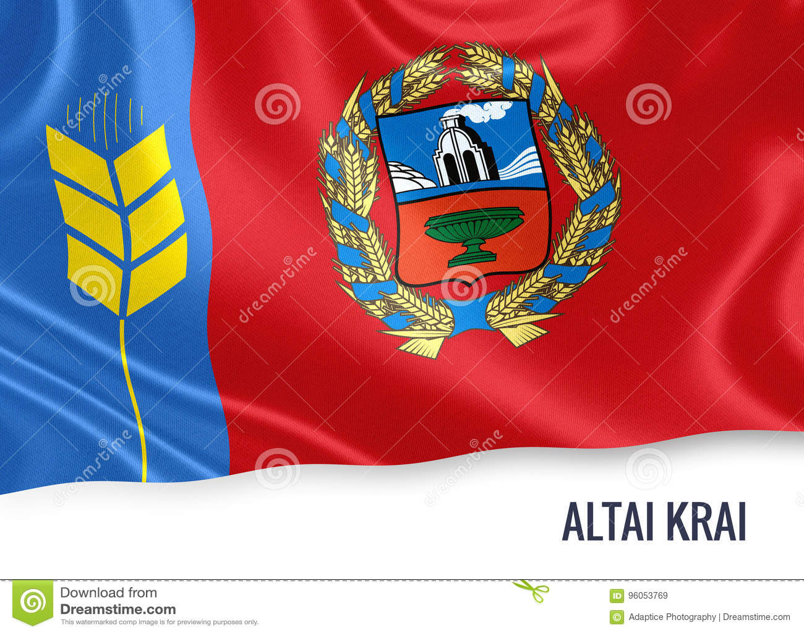 Drapeau russe d Altai Krai d état ondulant sur un backgr blanc d isolement