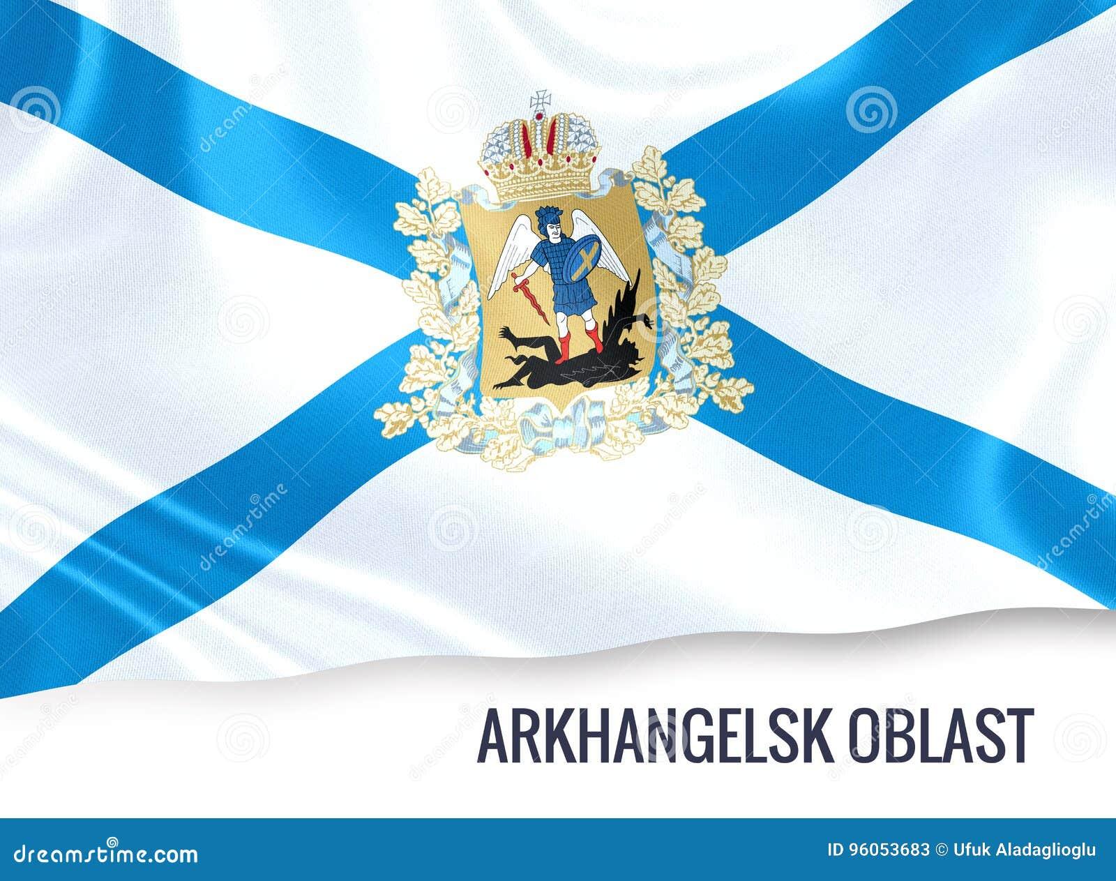 Drapeau russe d Arkhangelsk Oblast d état ondulant sur un petit morceau d isolement