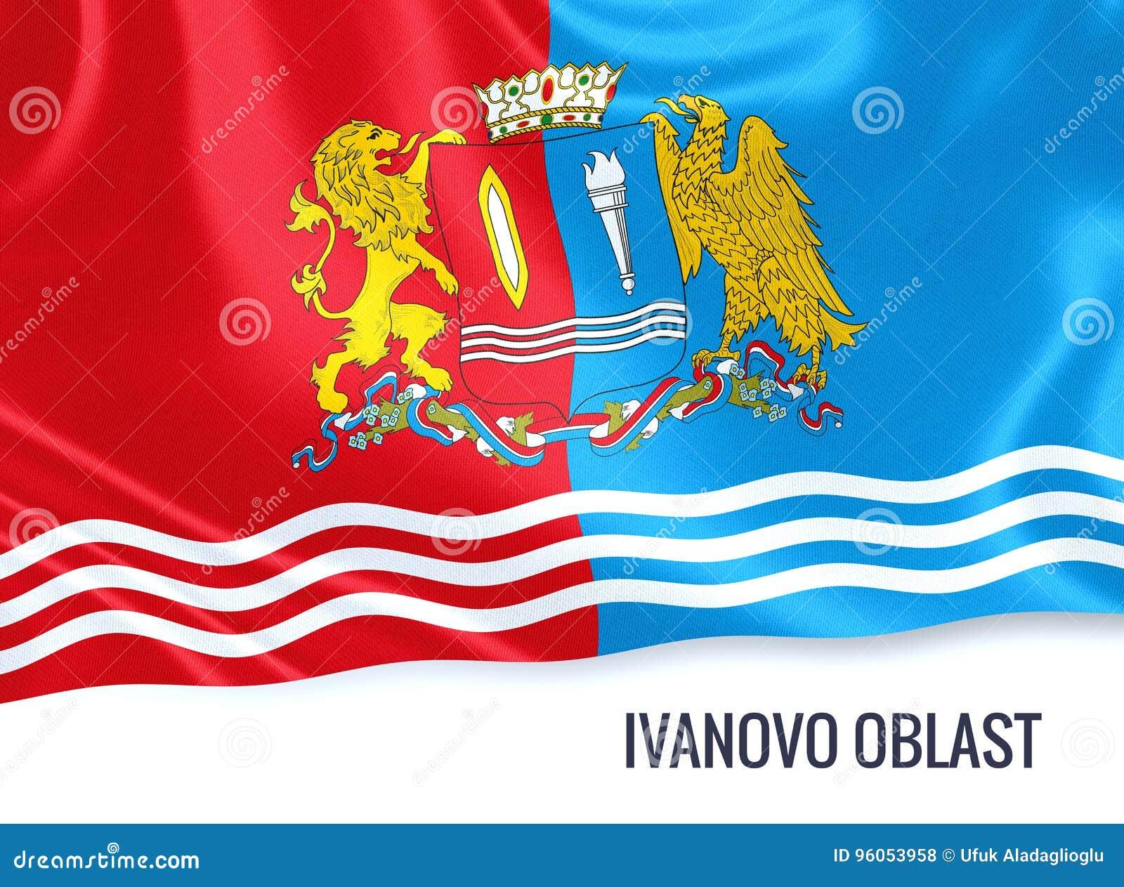 Drapeau russe d Ivanovo Oblast d état ondulant sur un Ba blanc d isolement