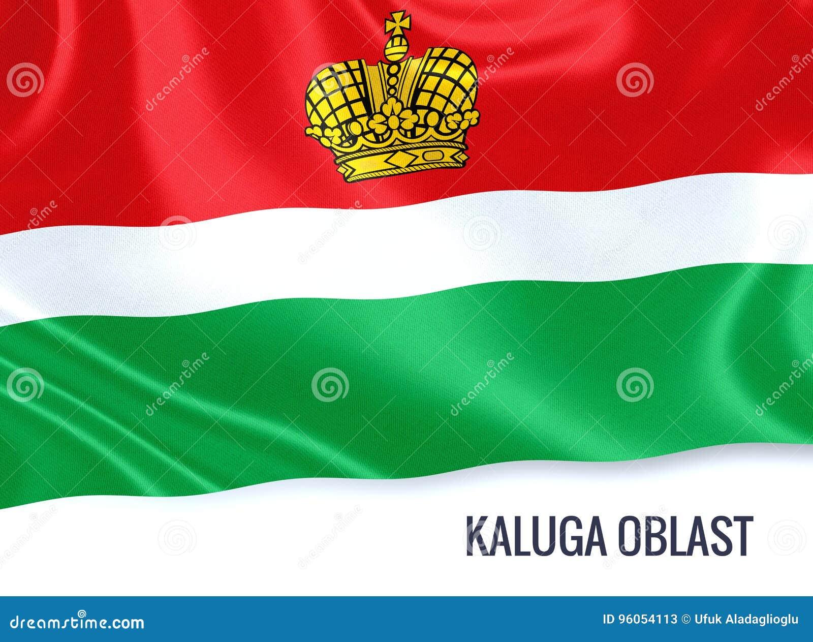 Drapeau russe de Kaluga Oblast d état ondulant sur un CCB blanc d isolement